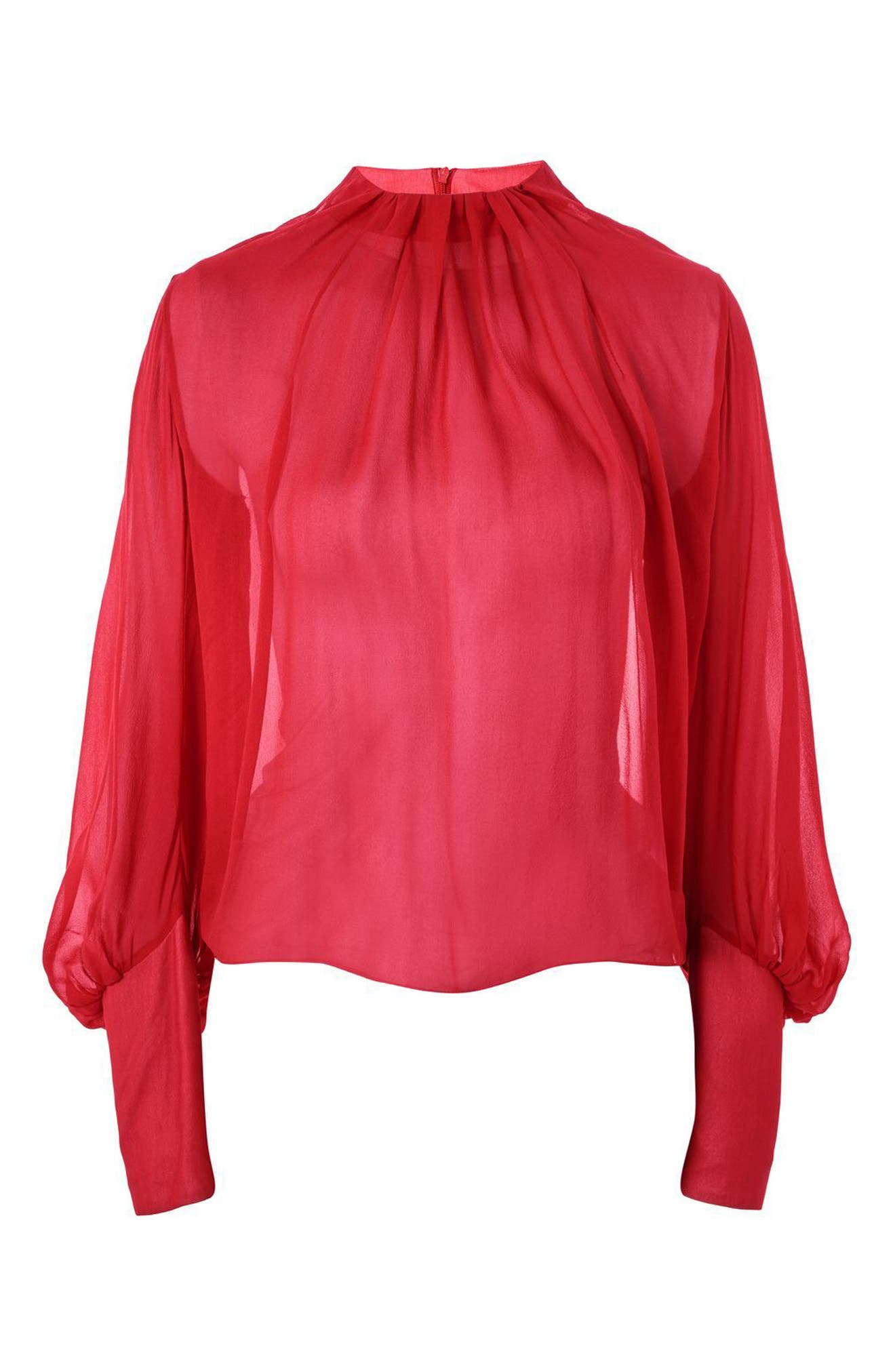 Pleat Neck Blouse,                         Main,                         color, Red