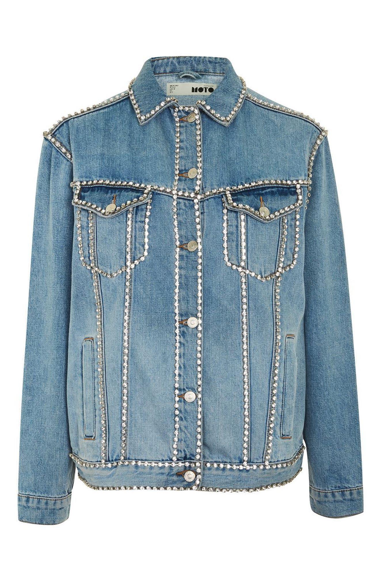 Oversize Crystal Seam Denim Jacket,                             Alternate thumbnail 6, color,                             Mid Denim