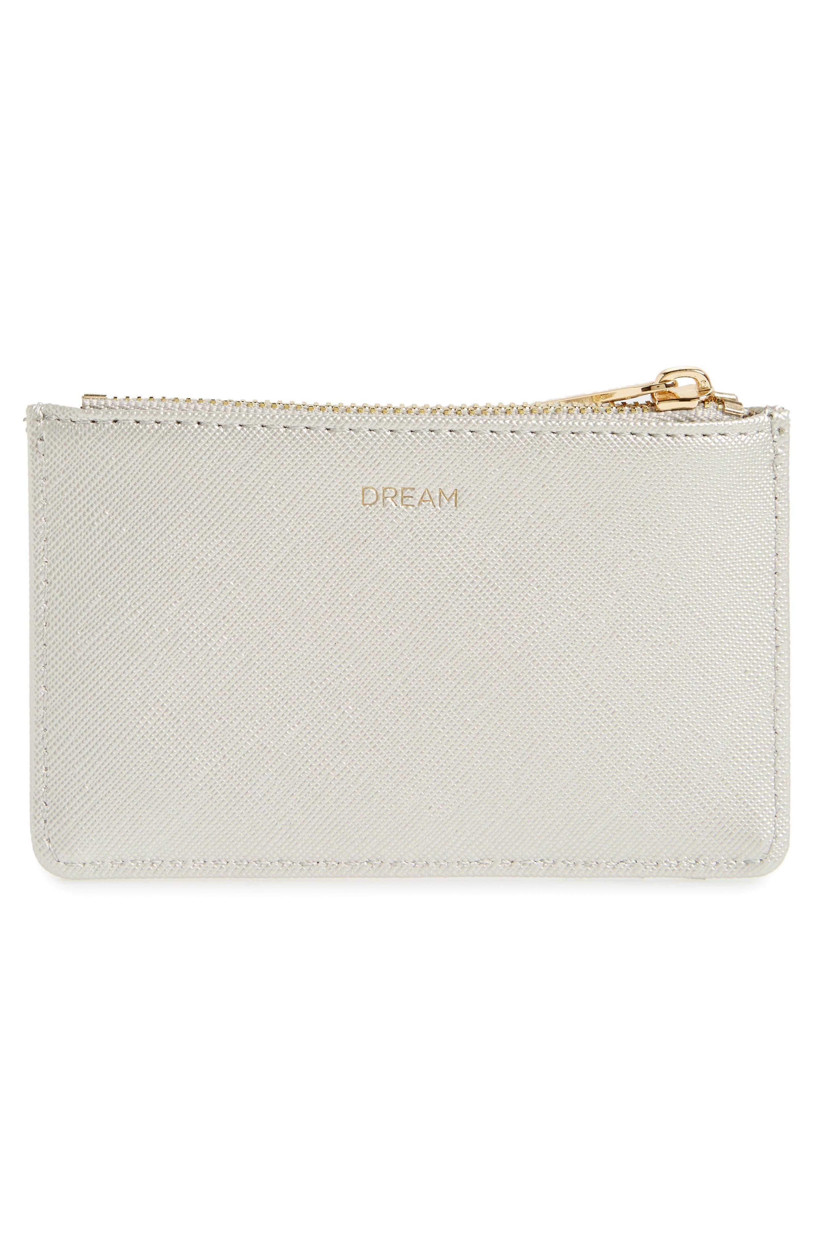 Dream Faux Leather Card Case,                             Alternate thumbnail 2, color,                             Silver