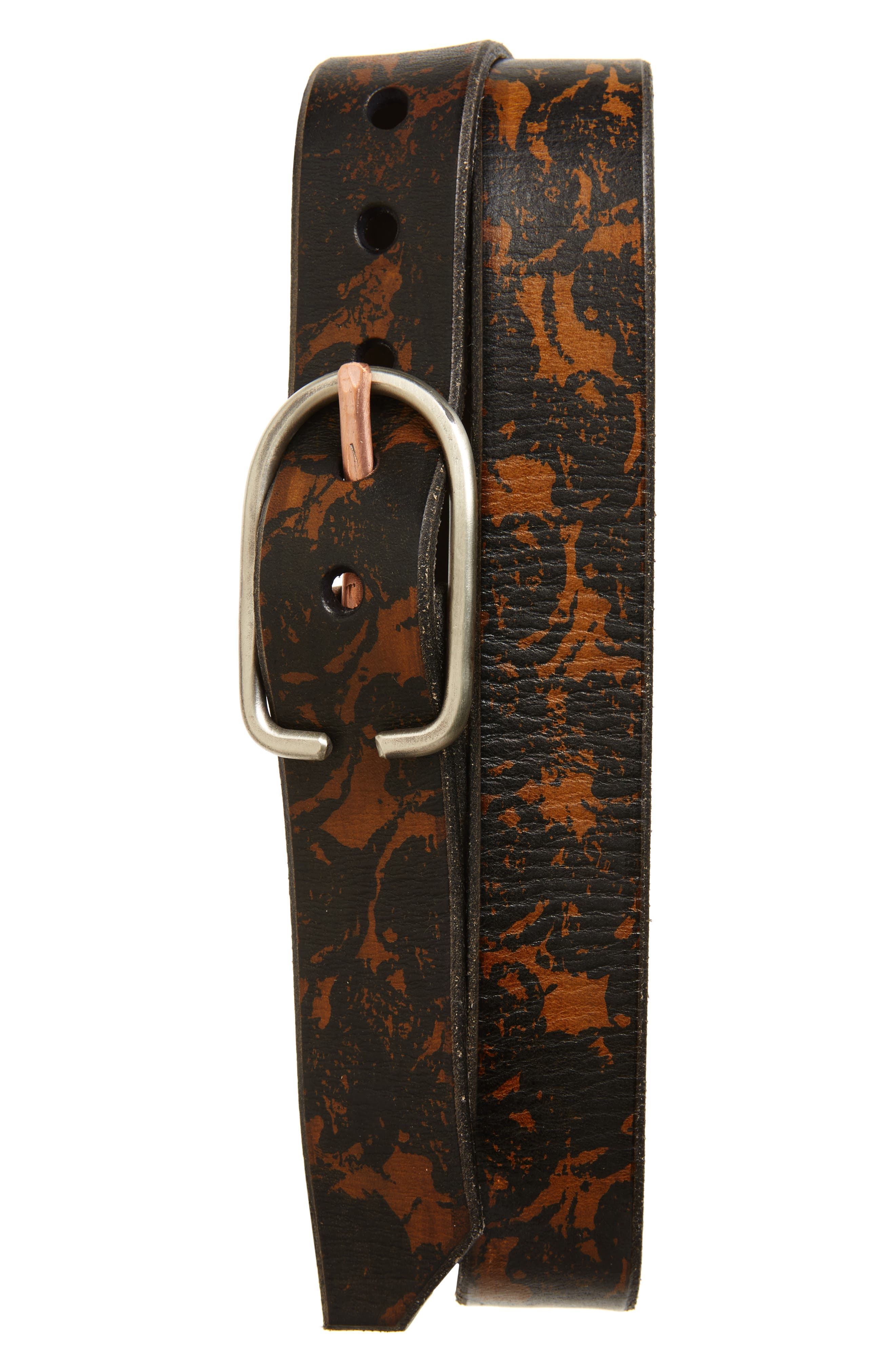 Cause & Effect Tortoiseshell Leather Belt,                         Main,                         color, Brown/ Black