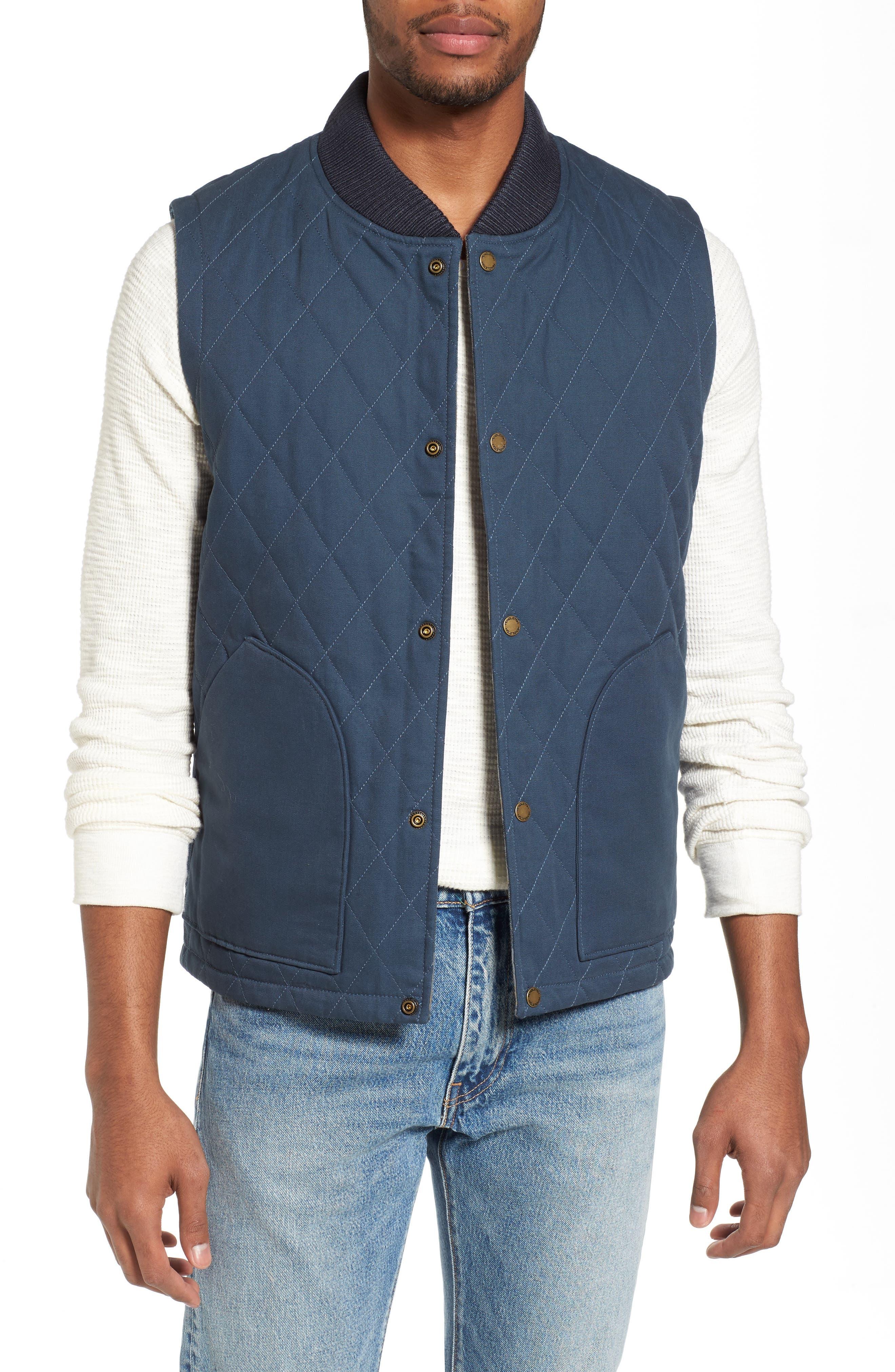 Reversible Canvas Vest,                         Main,                         color, Navy/ Indigo Plaid