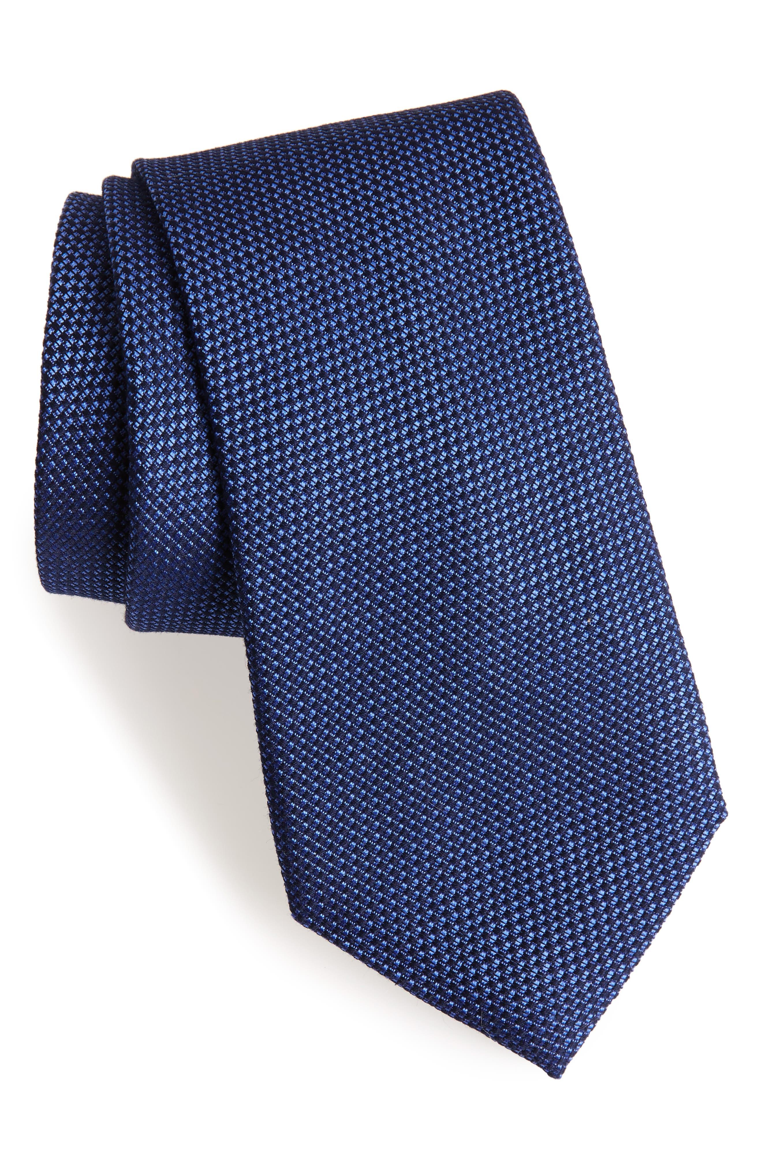 Seedstitch Solid Cotton & Silk Tie,                         Main,                         color, Navy