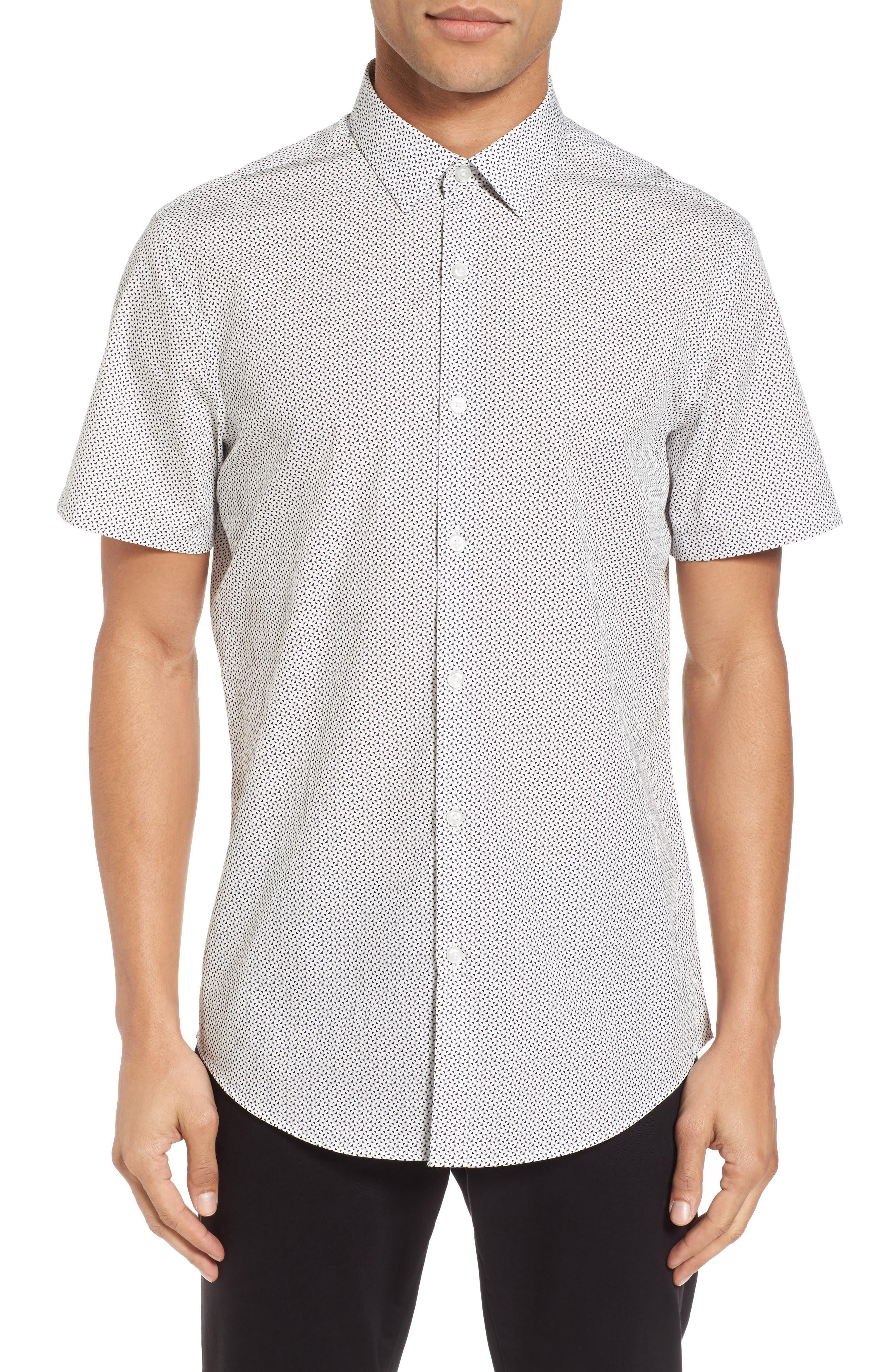 Slim Fit Print Short Sleeve Sport Shirt,                         Main,                         color, White Navy Triangle
