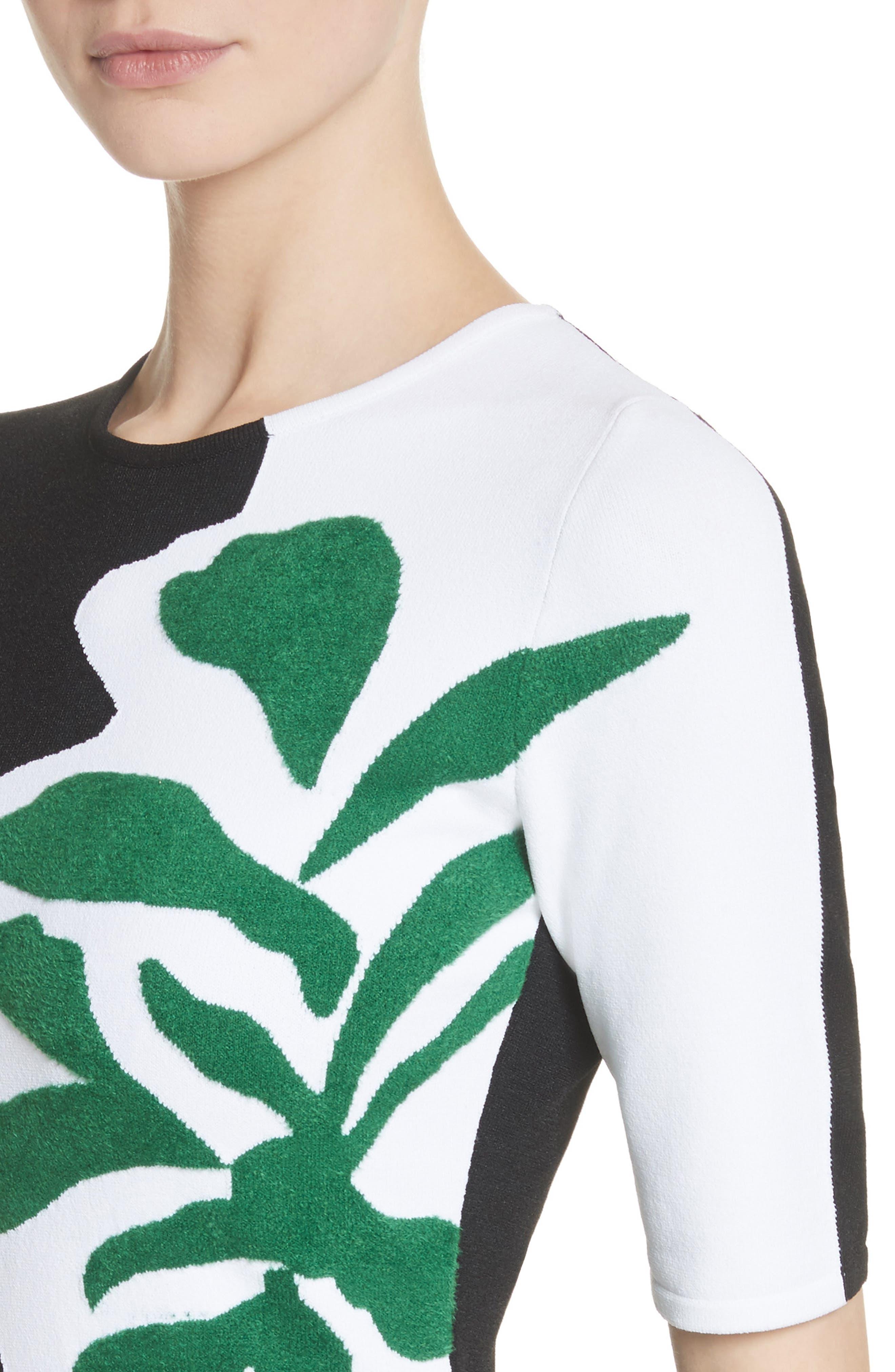 Intarsia Leaf Print Dress,                             Alternate thumbnail 4, color,                             White/ Black/ Evergreen
