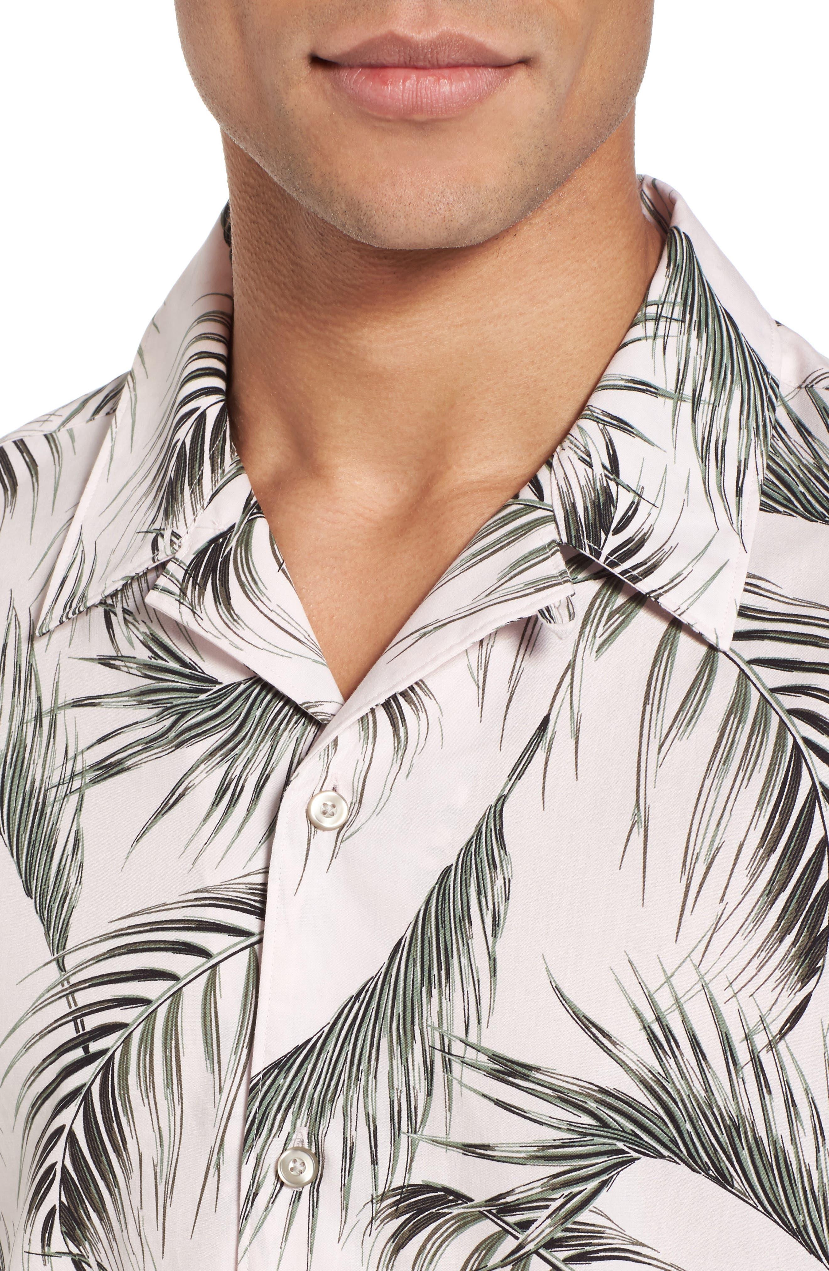 Slim Fit Short Sleeve Print Camp Shirt,                             Alternate thumbnail 4, color,                             Pink Pretty Palms