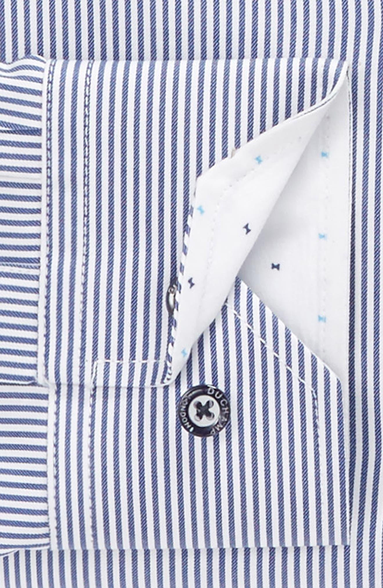 Trim Fit Stripe Dress Shirt,                             Alternate thumbnail 3, color,                             Navy