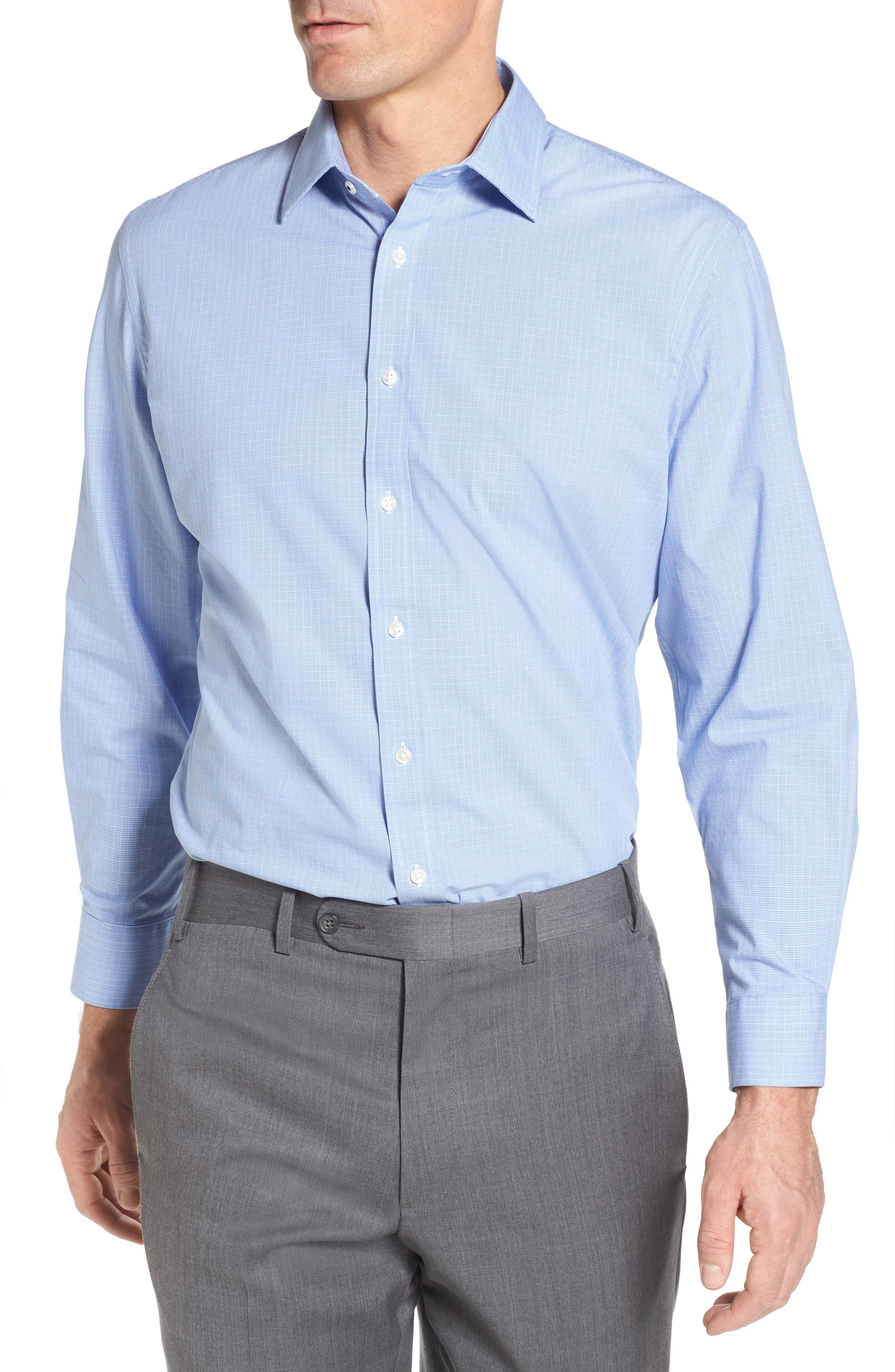 Tech-Smart Traditional Fit Stretch Check Dress Shirt,                         Main,                         color, Blue Hydrangea