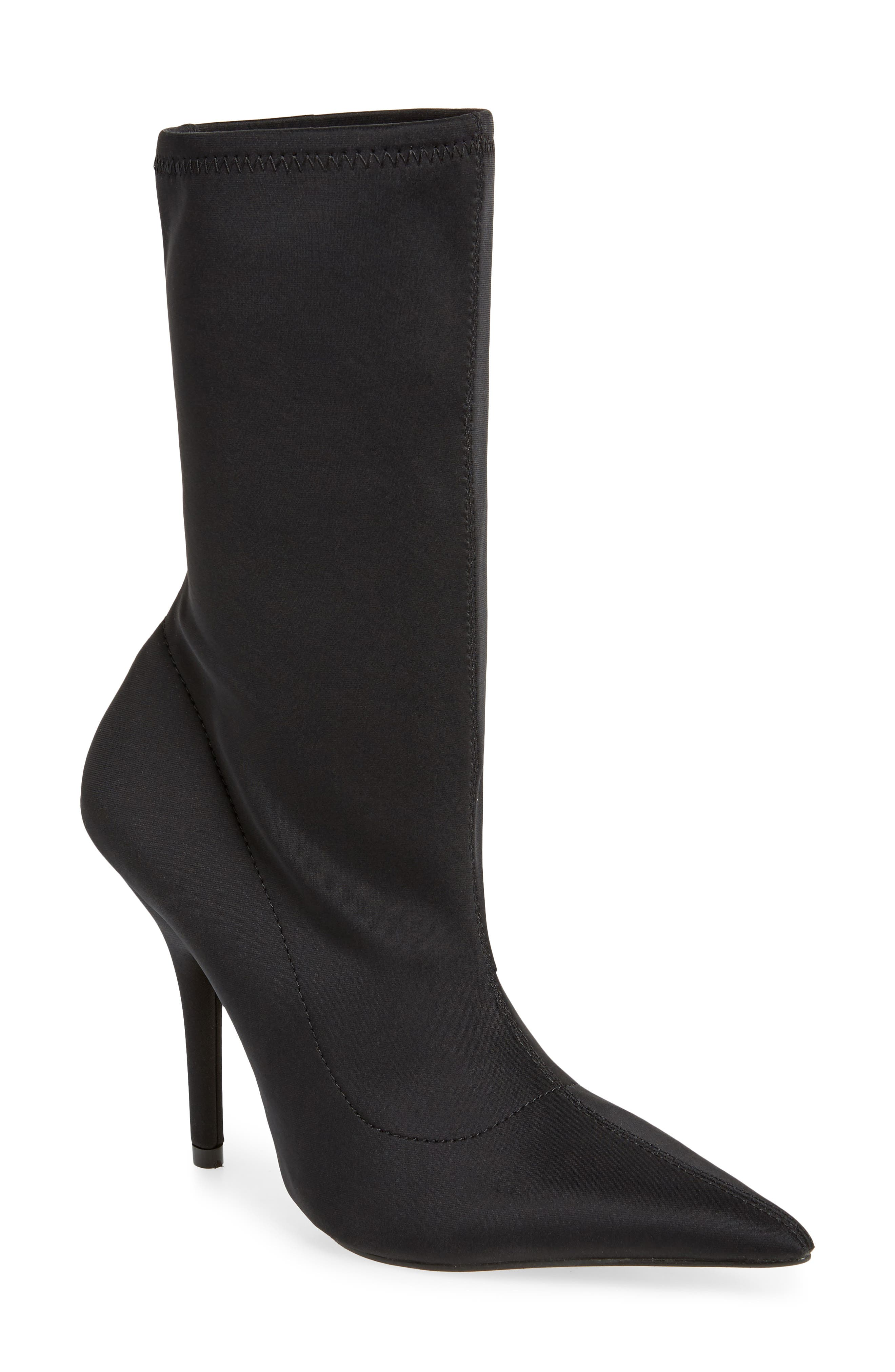 Hannah Sock Bootie,                         Main,                         color, Black Fabric