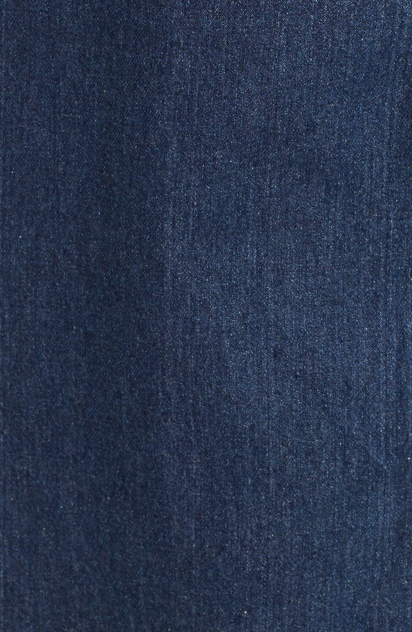 Tie Waist Denim Shirtdress,                             Alternate thumbnail 5, color,                             Dark Denim