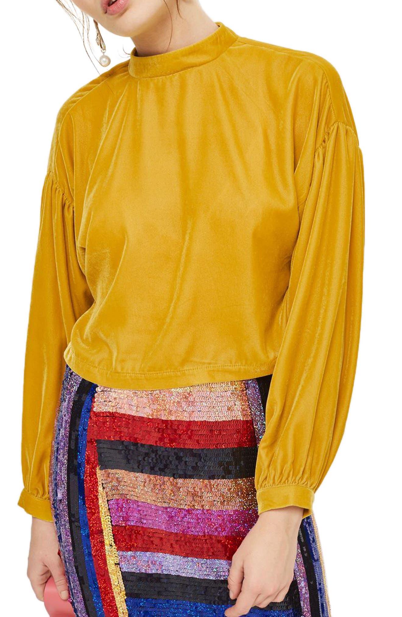 Velvet Peasant Top,                         Main,                         color, Yellow