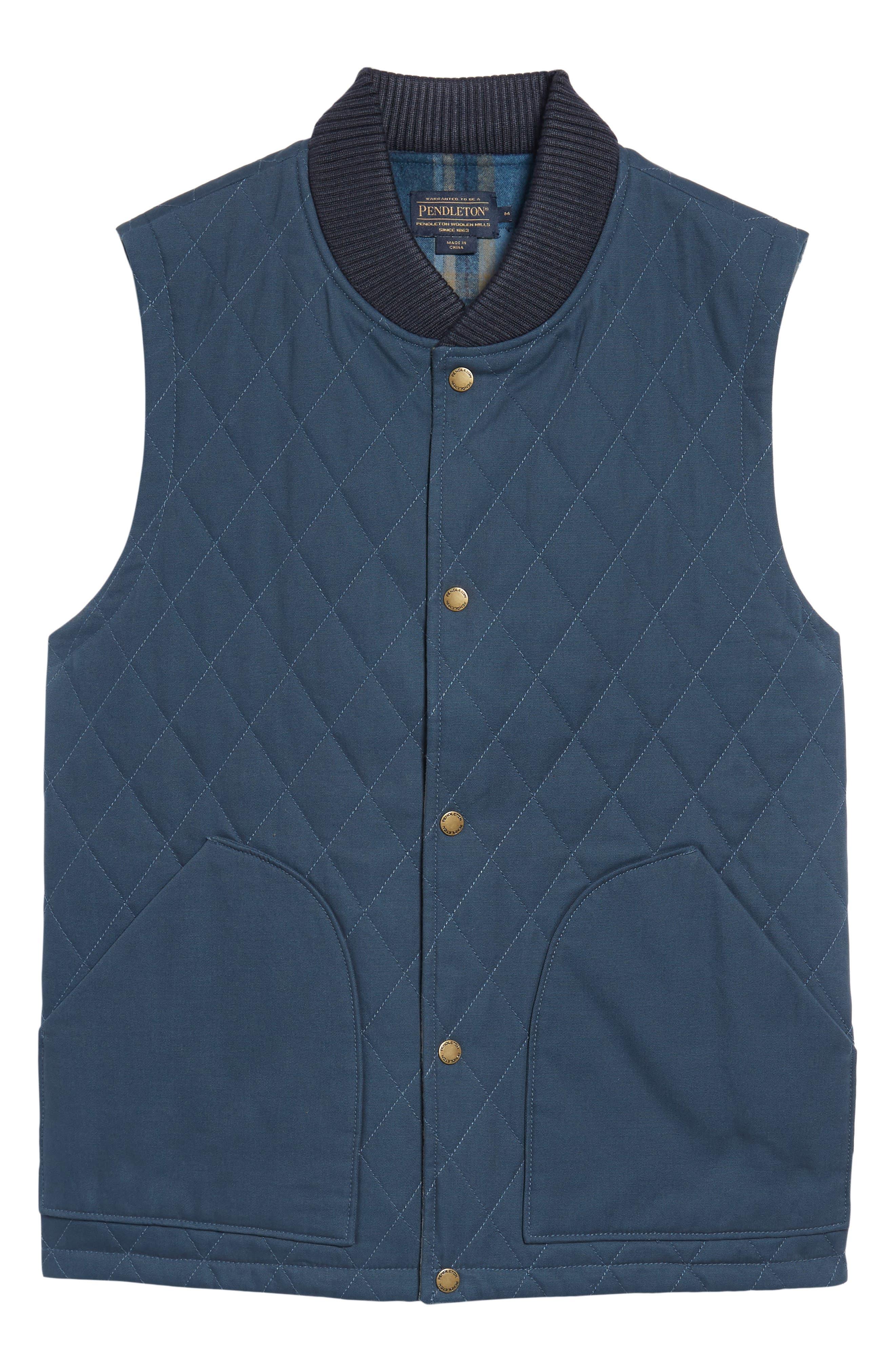 Reversible Canvas Vest,                             Alternate thumbnail 7, color,                             Navy/ Indigo Plaid