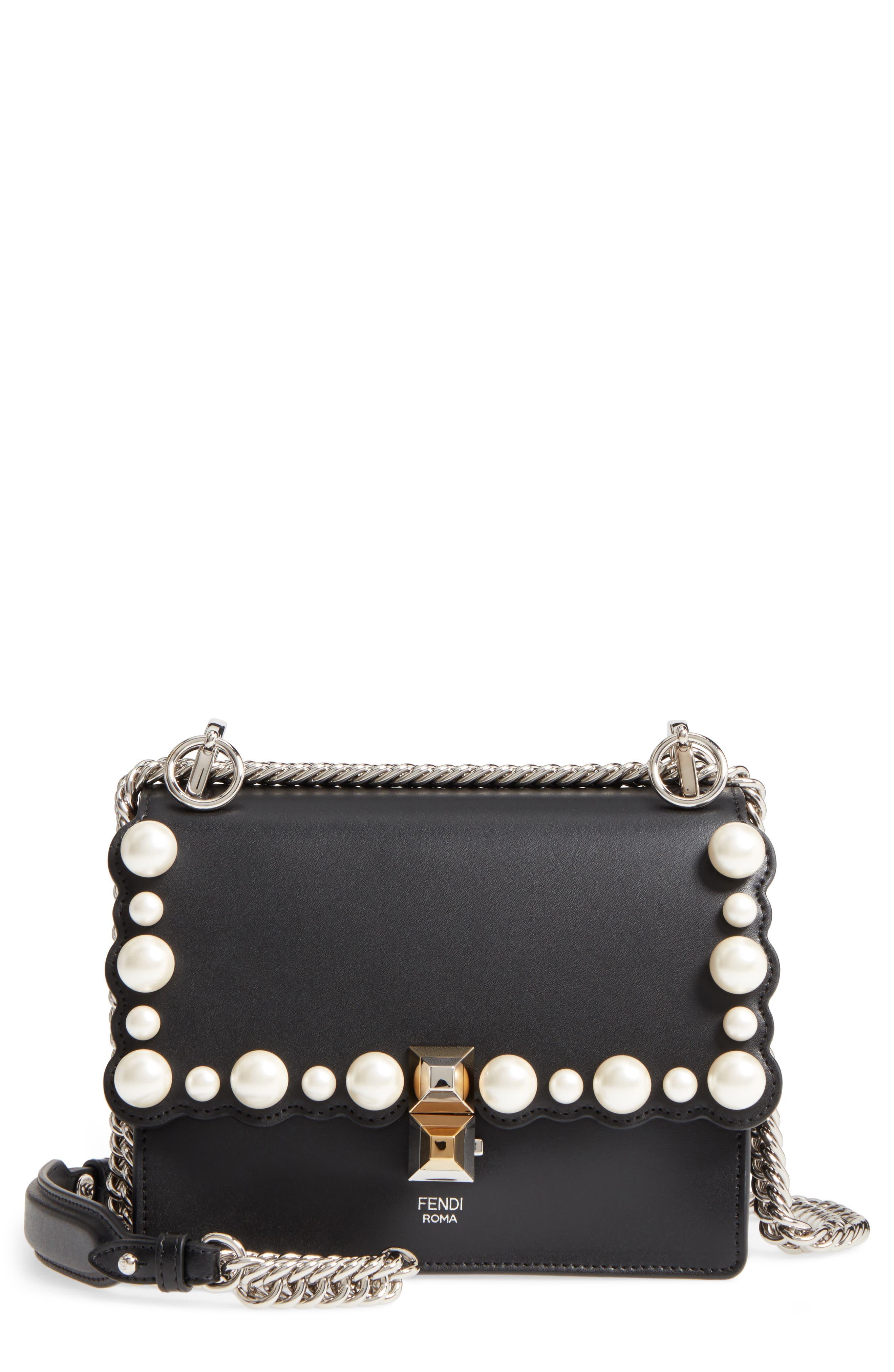 Small Kan I Imitation Pearl Stud Calfskin Shoulder Bag,                             Main thumbnail 1, color,                             Black