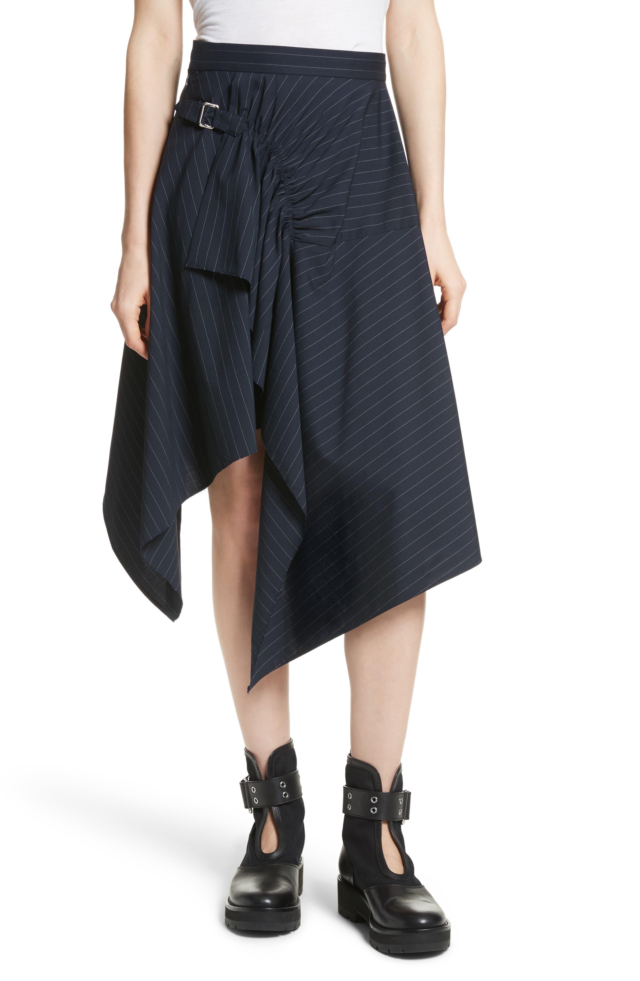 3.1 Phillip Lim Stripe Stretch Wool Handkerchief Skirt