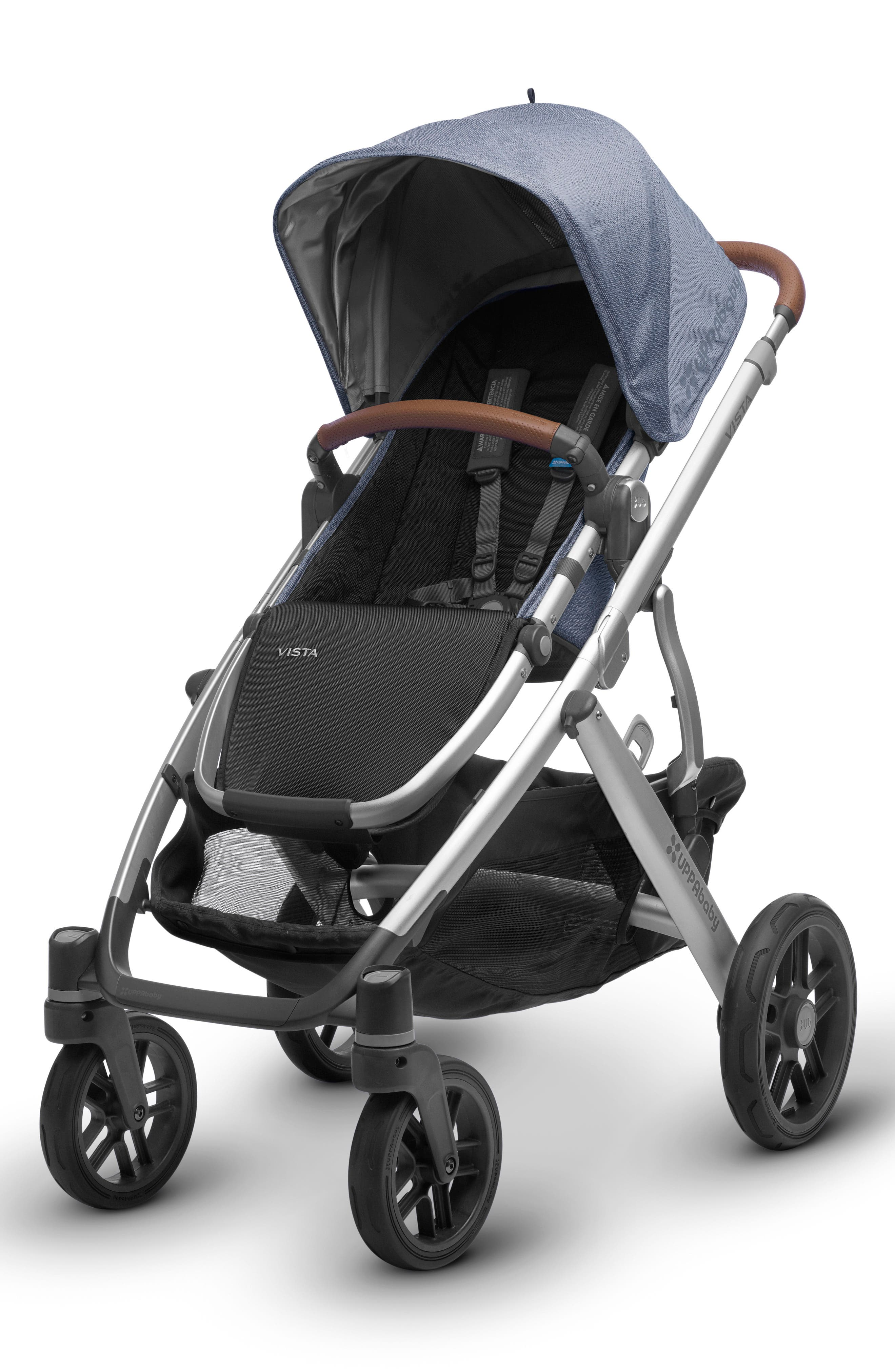 2018 VISTA Aluminum Frame Convertible Complete Stroller with Leather Trim,                         Main,                         color, Henry Blue Marl/ Silver