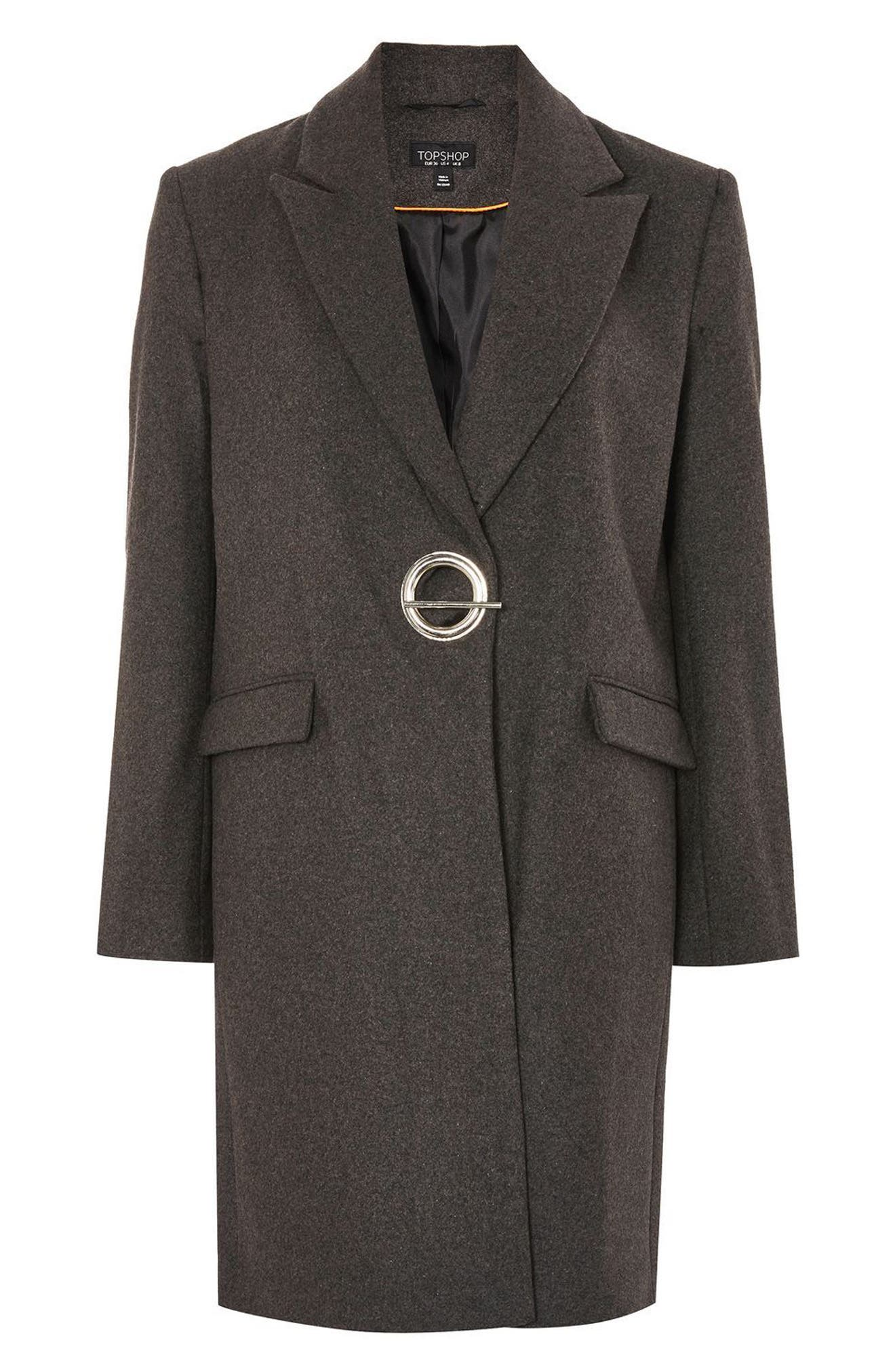 Peak Lapel Coat,                             Alternate thumbnail 3, color,                             Grey