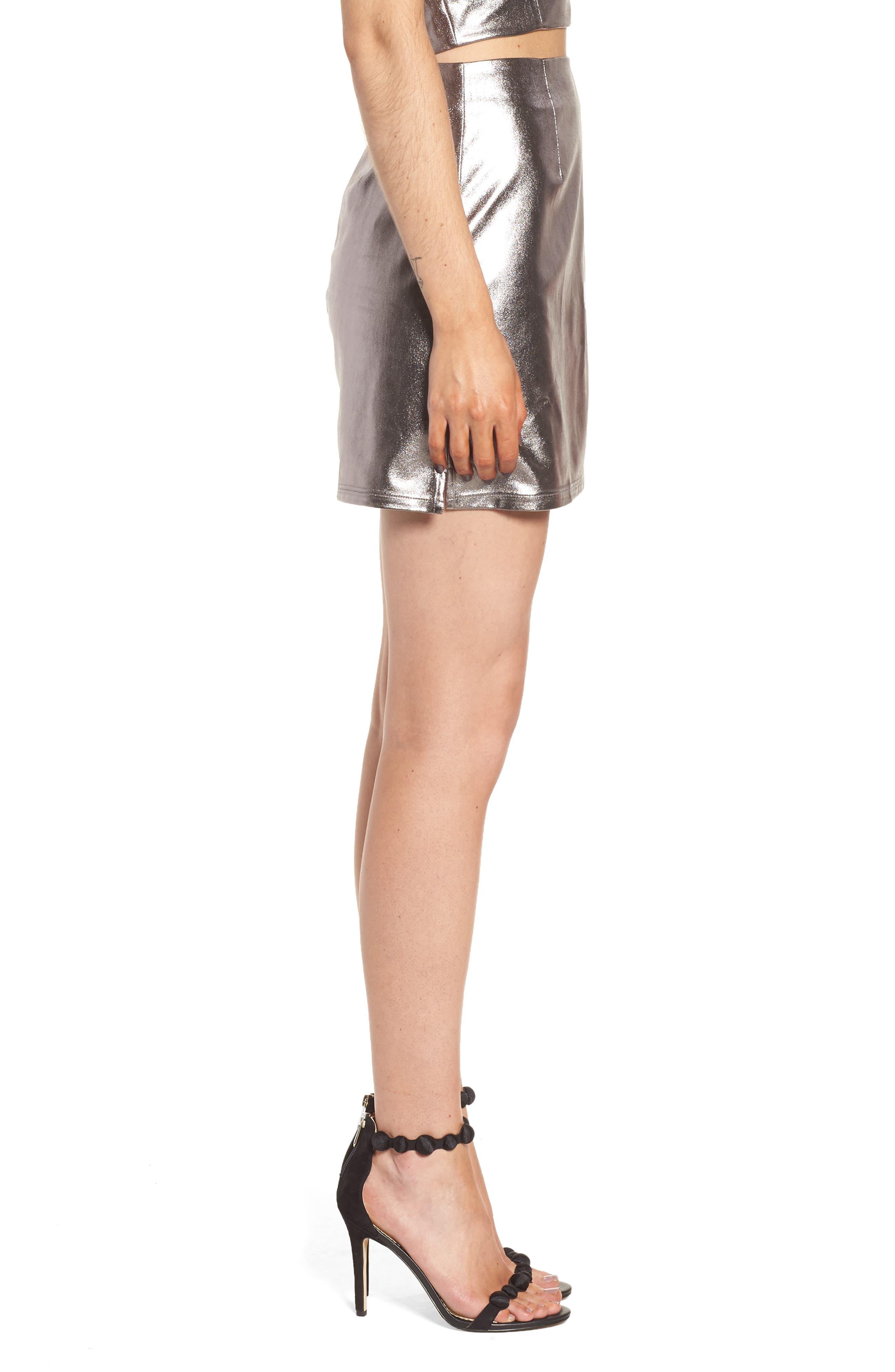Alternate Image 3  - Lovers+ Friends Back to Basics Silver Miniskirt