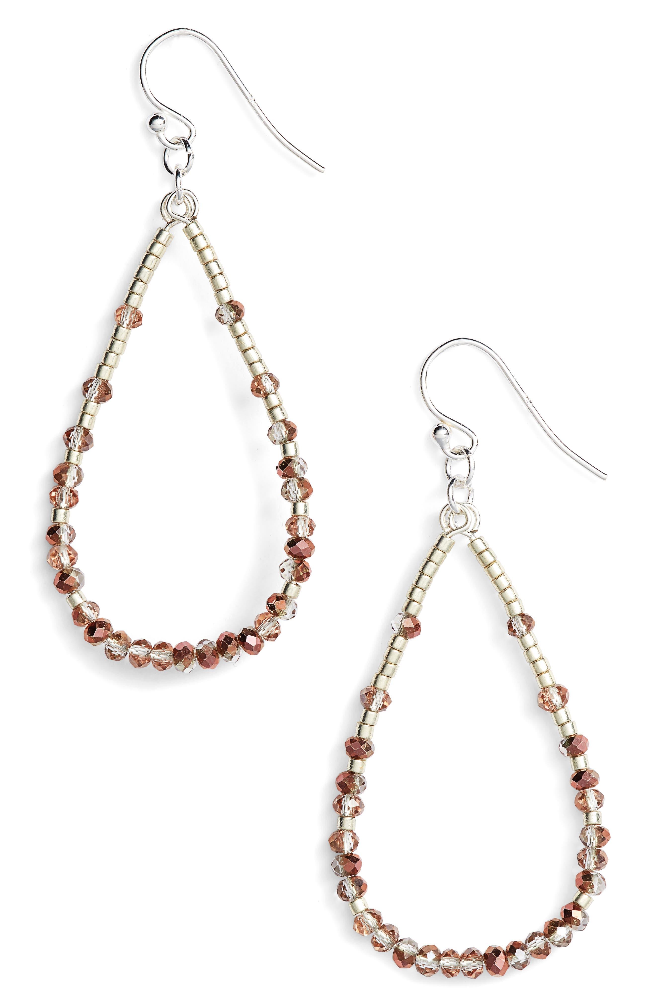 Crystal Hoop Earrings,                         Main,                         color, Copper Crystal