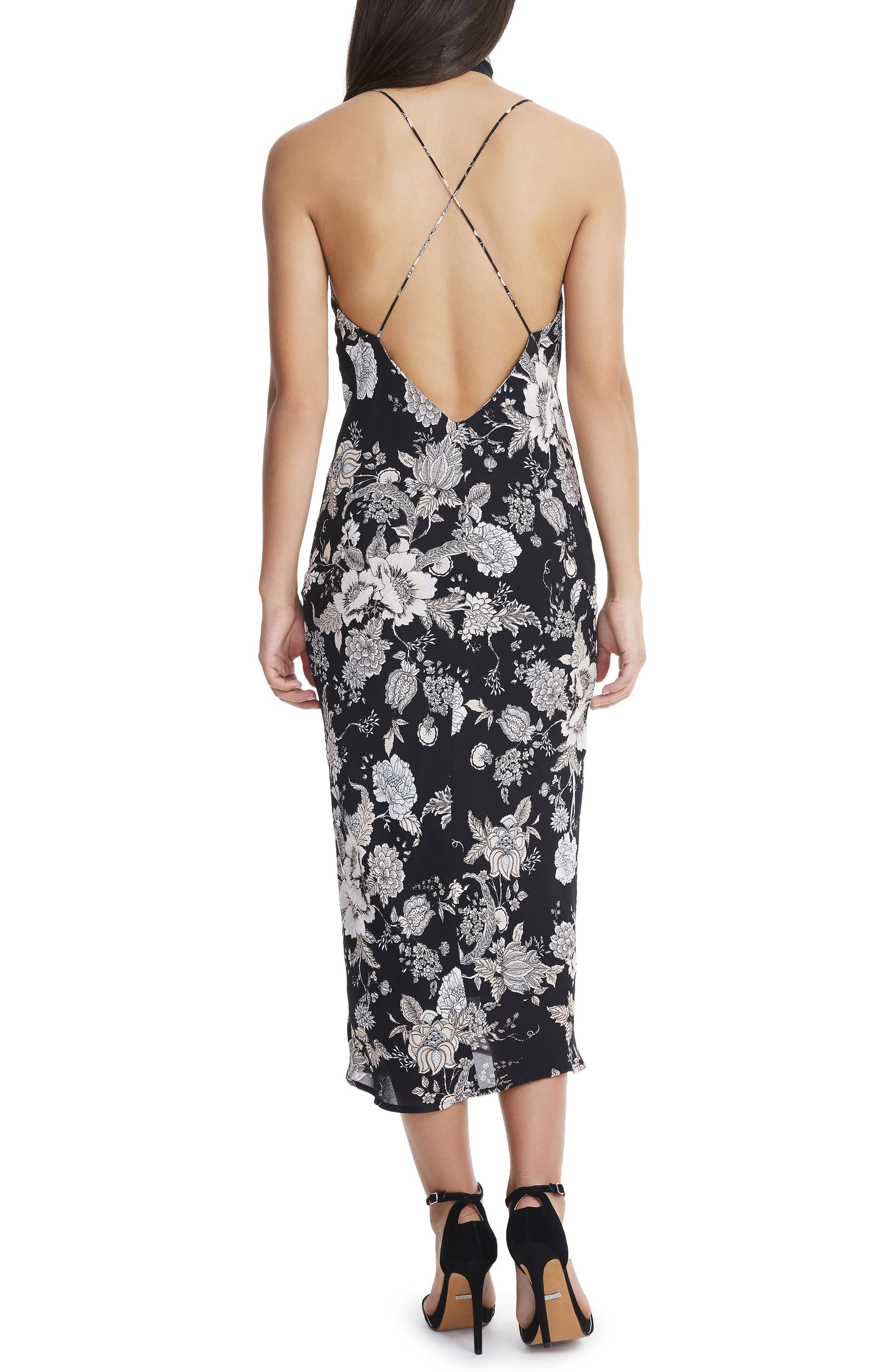 Sloan Choker Neck Midi Slipdress,                             Alternate thumbnail 2, color,                             Noir Bouquet