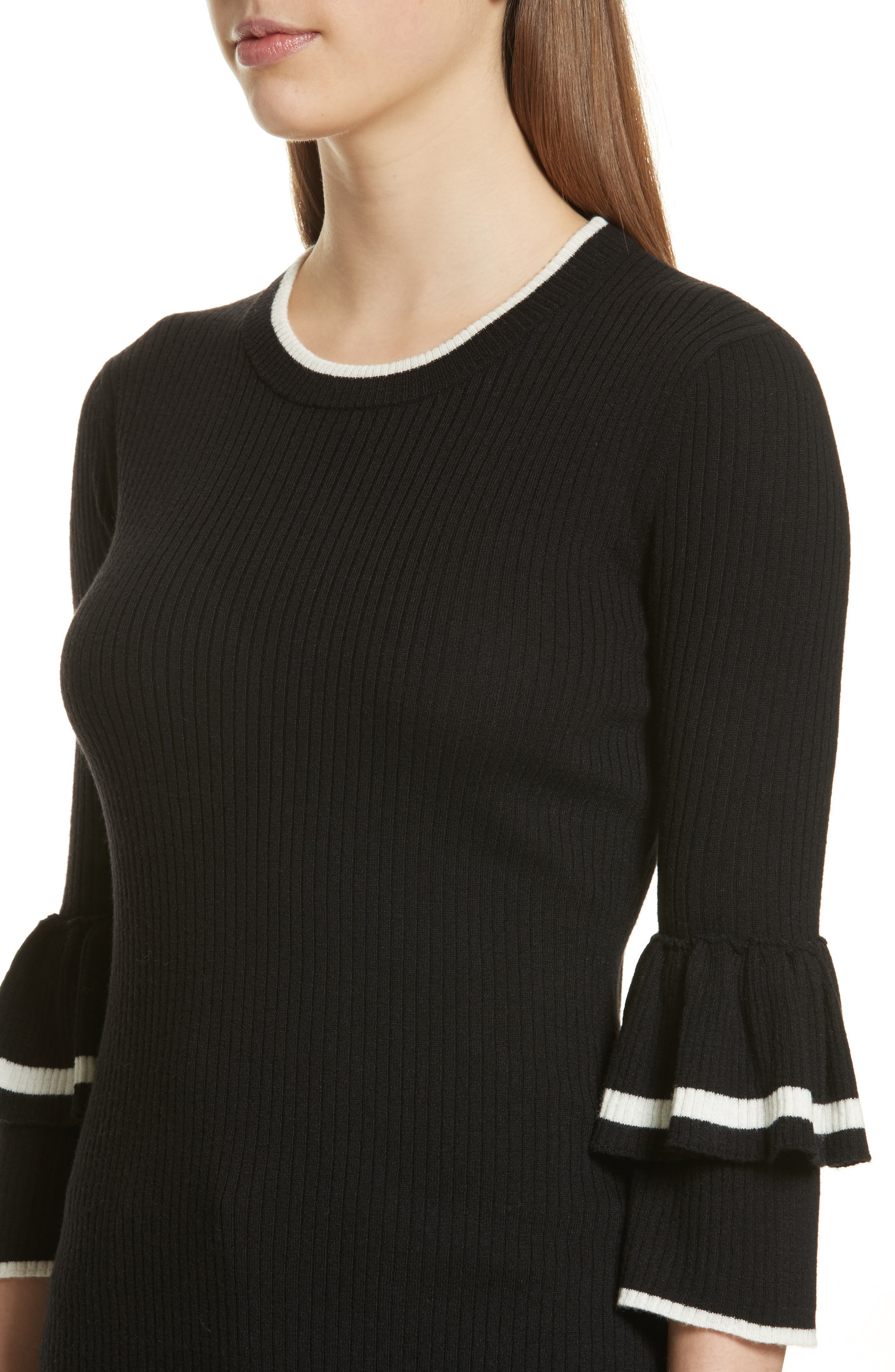Double Ruffle Cuff Sweater,                             Alternate thumbnail 4, color,                             Noir Multi