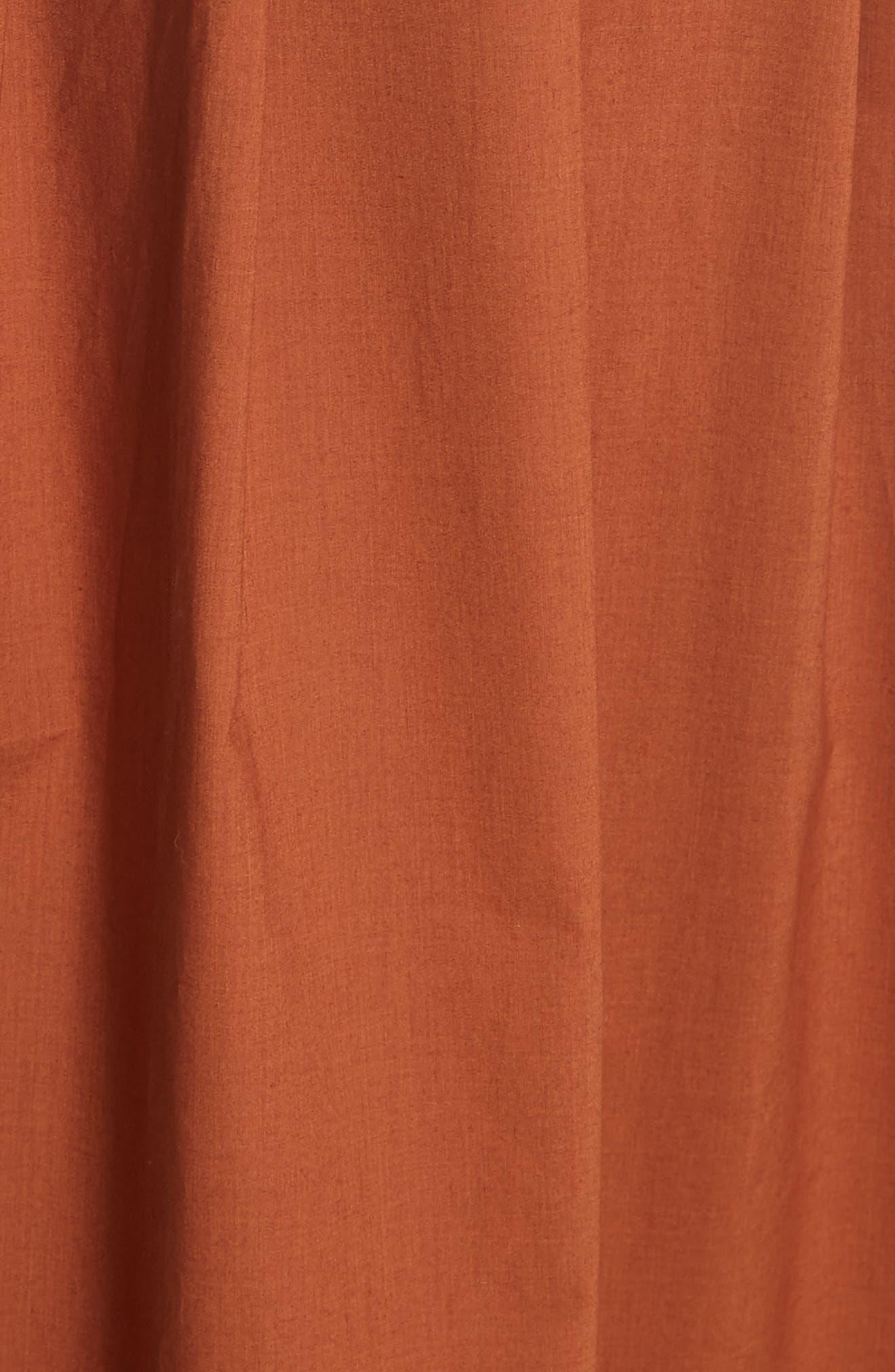 Azalia Button Front Poplin Midi Skirt,                             Alternate thumbnail 5, color,                             Walnut