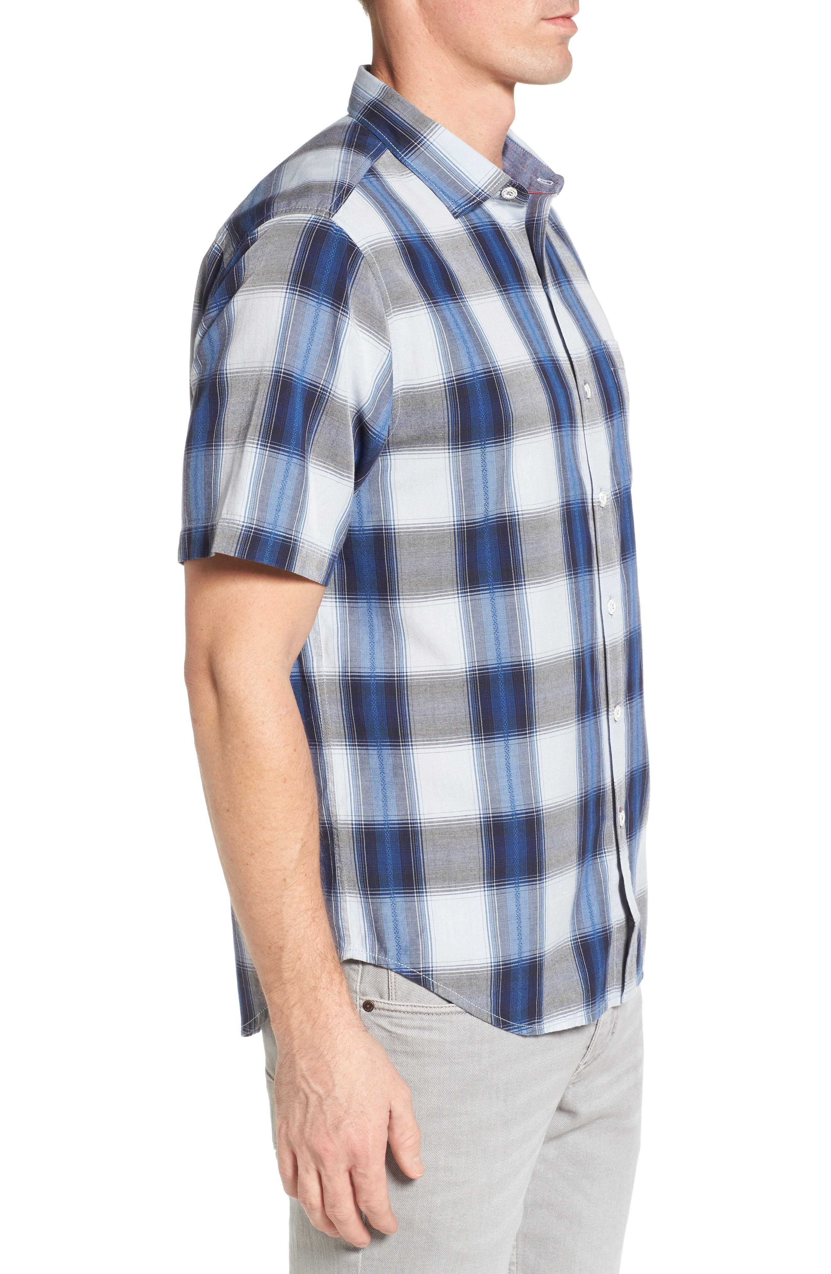 Biscayne Plaid Regular Fit Sport Shirt,                             Alternate thumbnail 3, color,                             Kingdom Blue