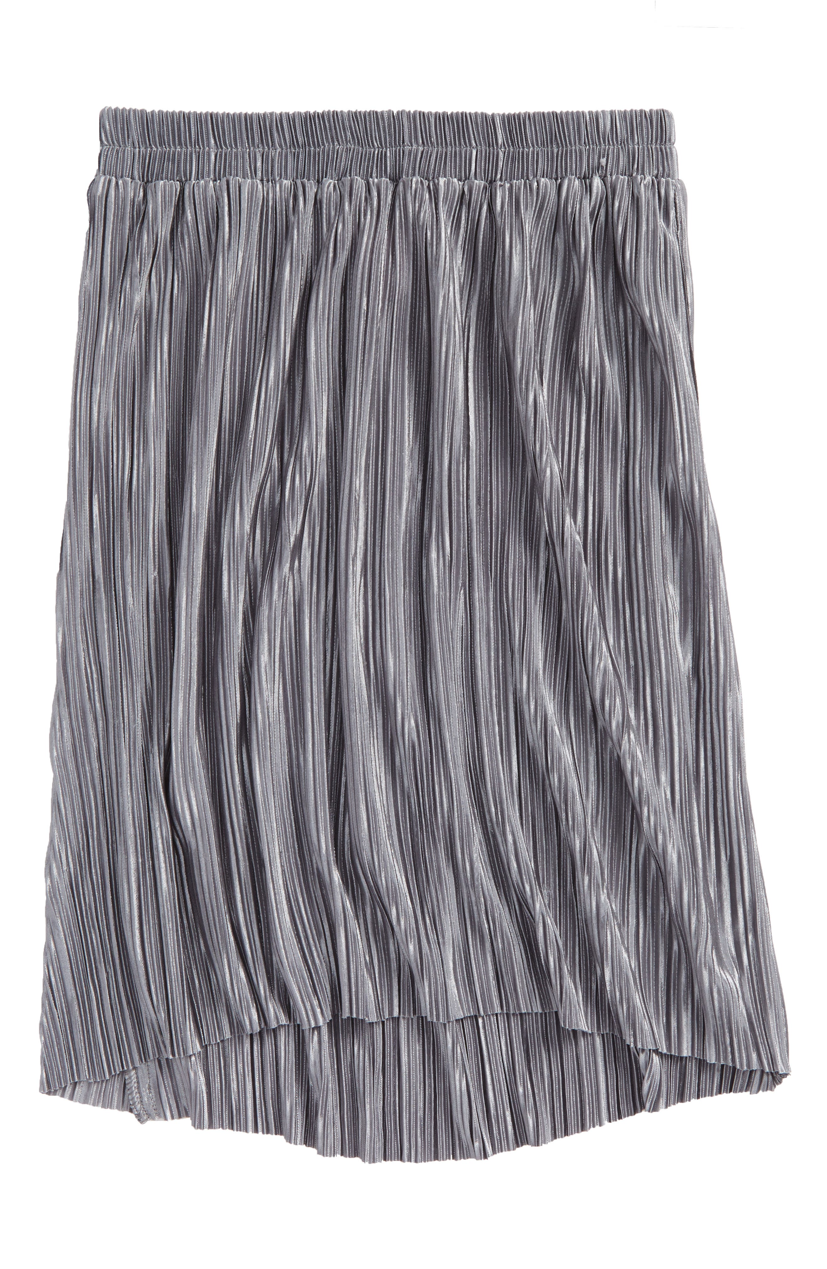 Pleated Metallic Skirt,                             Main thumbnail 1, color,                             Silver