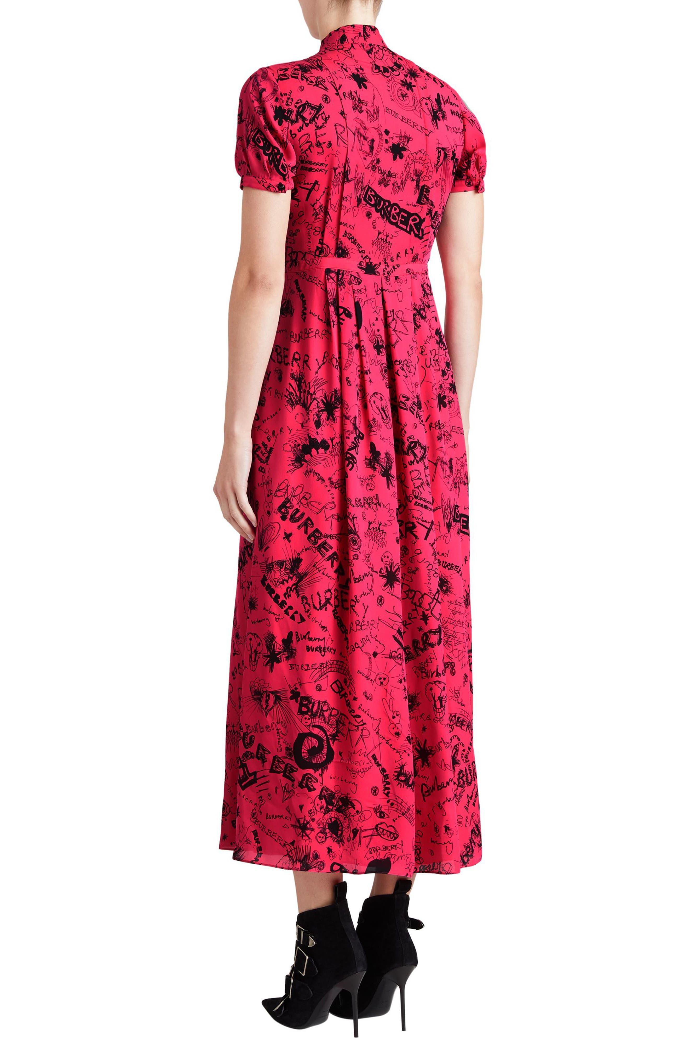 Antonina Doodle Print Silk Midi Dress,                             Alternate thumbnail 2, color,                             Fluro Pink