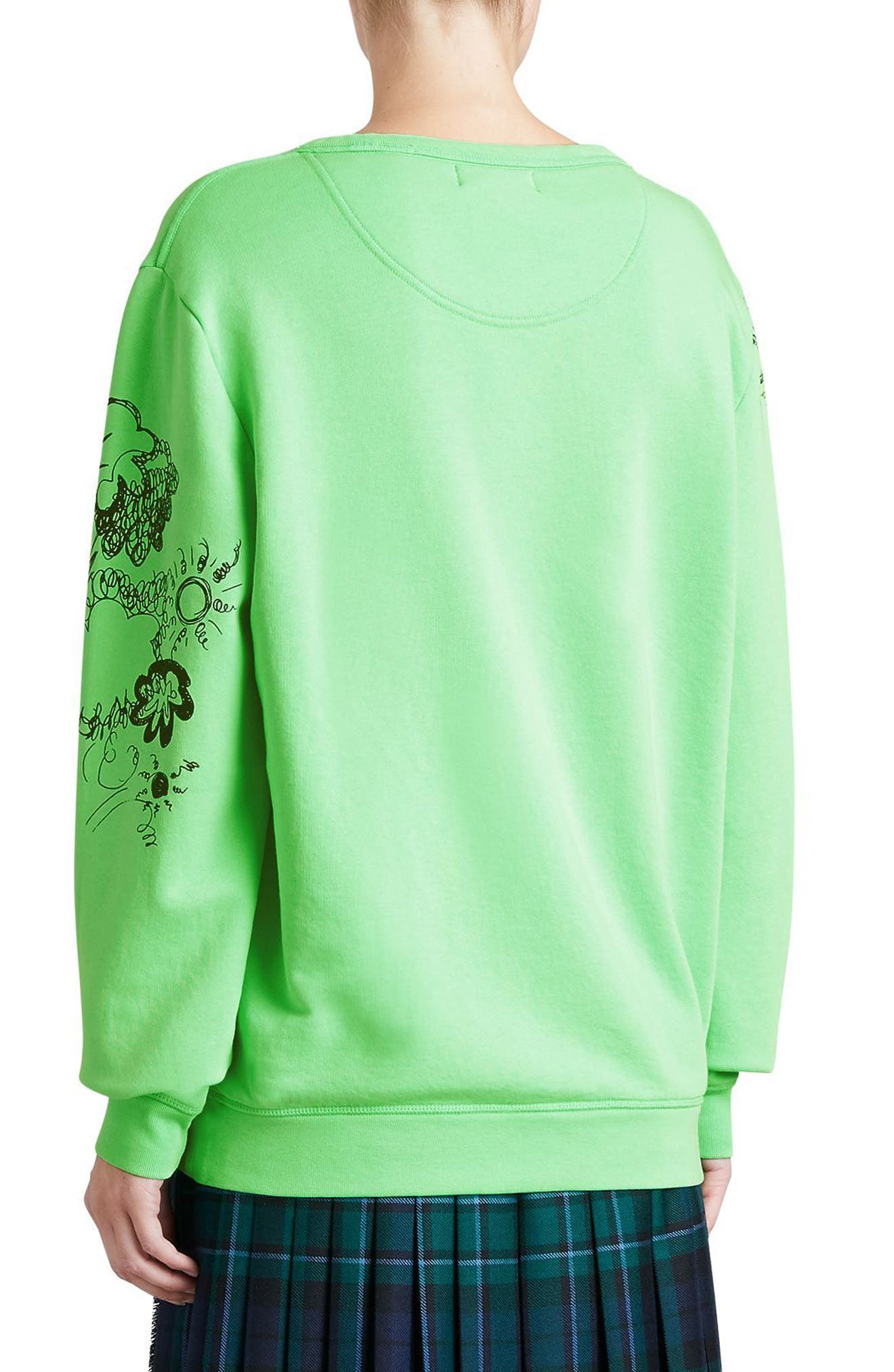 Madon Print Sweatshirt,                             Alternate thumbnail 3, color,                             Bright Apple Green