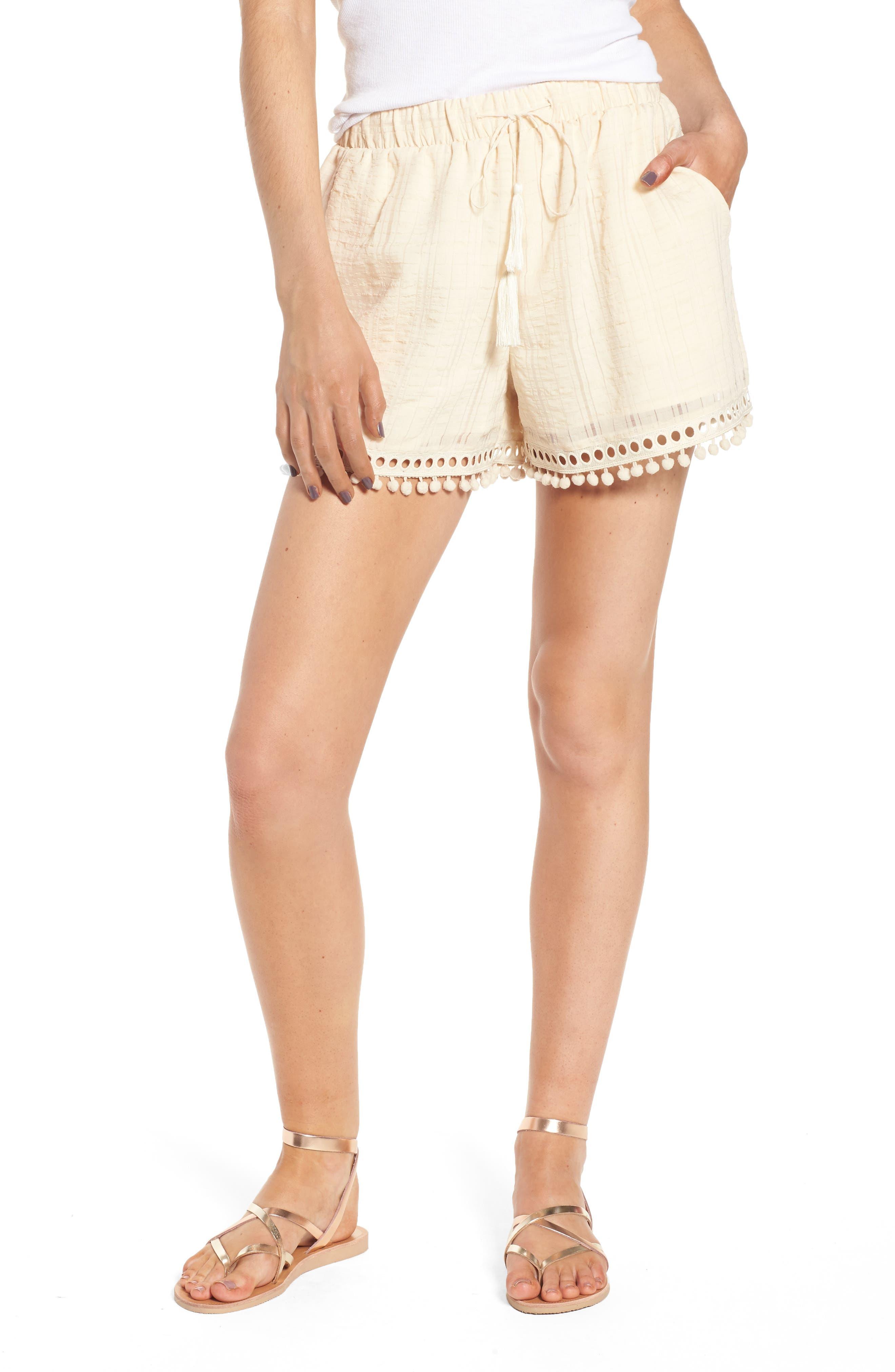 Pompom Trim Shorts,                         Main,                         color, Light Peach