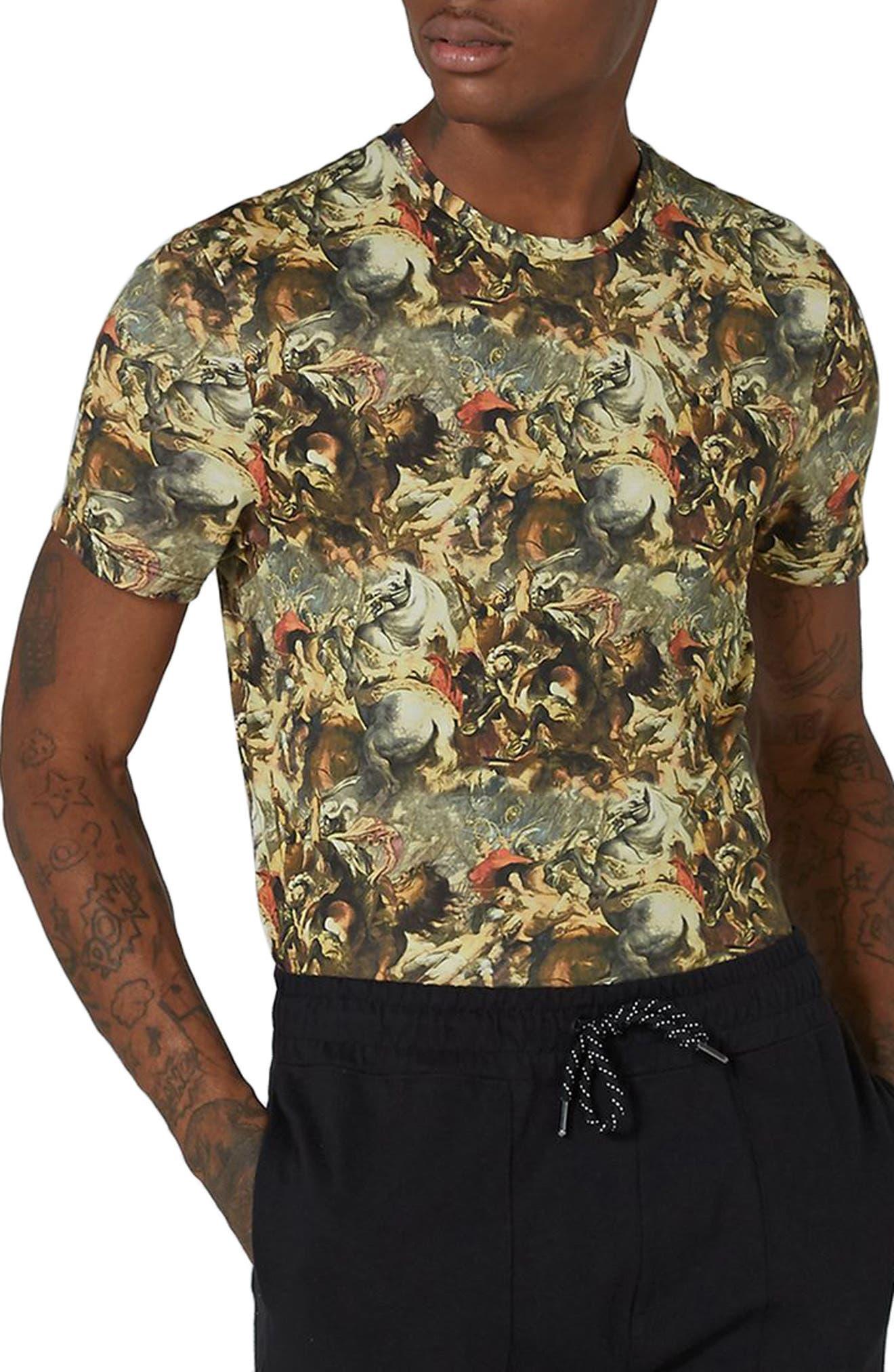 Alternate Image 1 Selected - Topman Battle Print T-Shirt