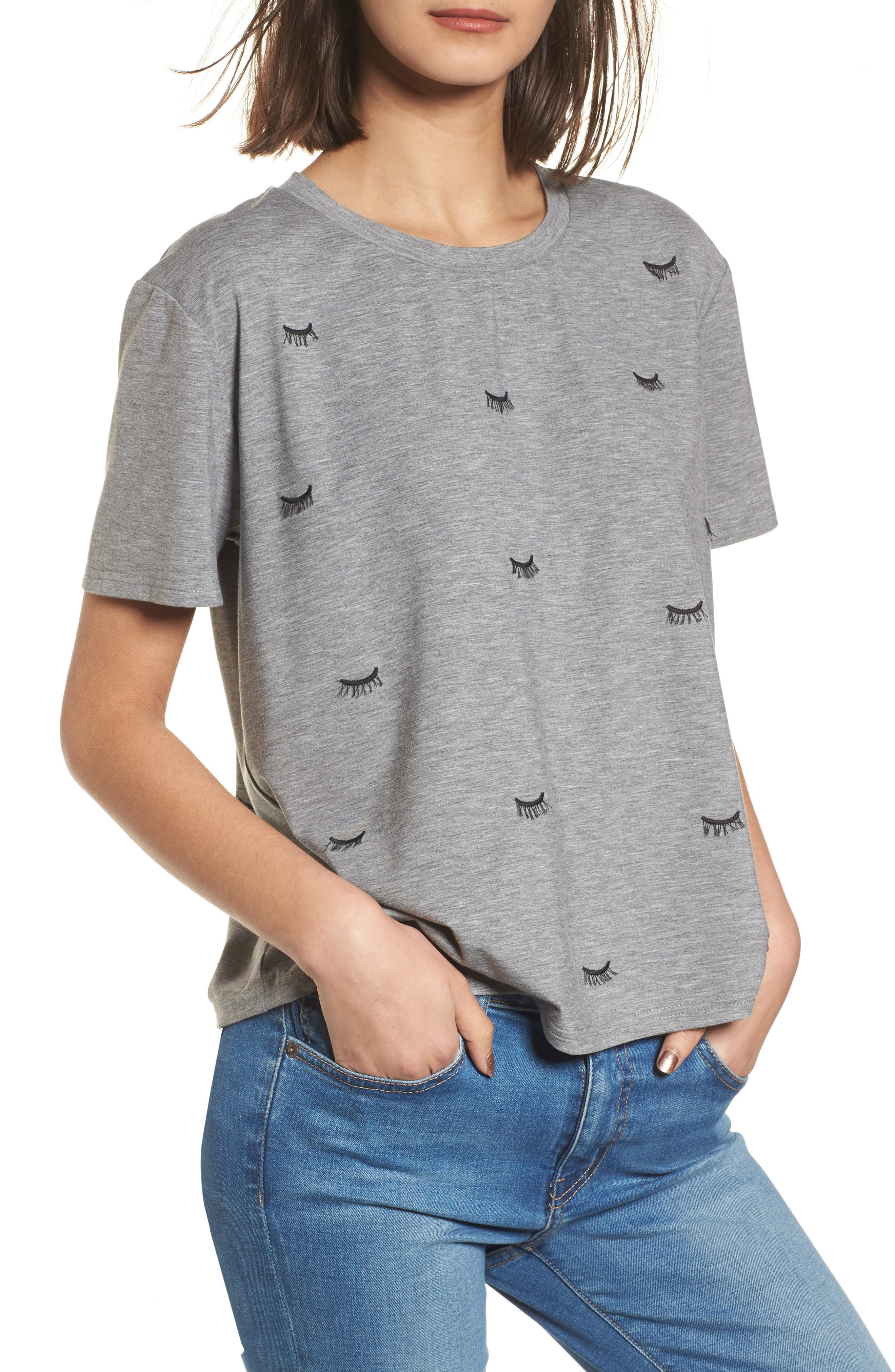 Alternate Image 1 Selected - Currently in Love Embroidered Eyelash Tee