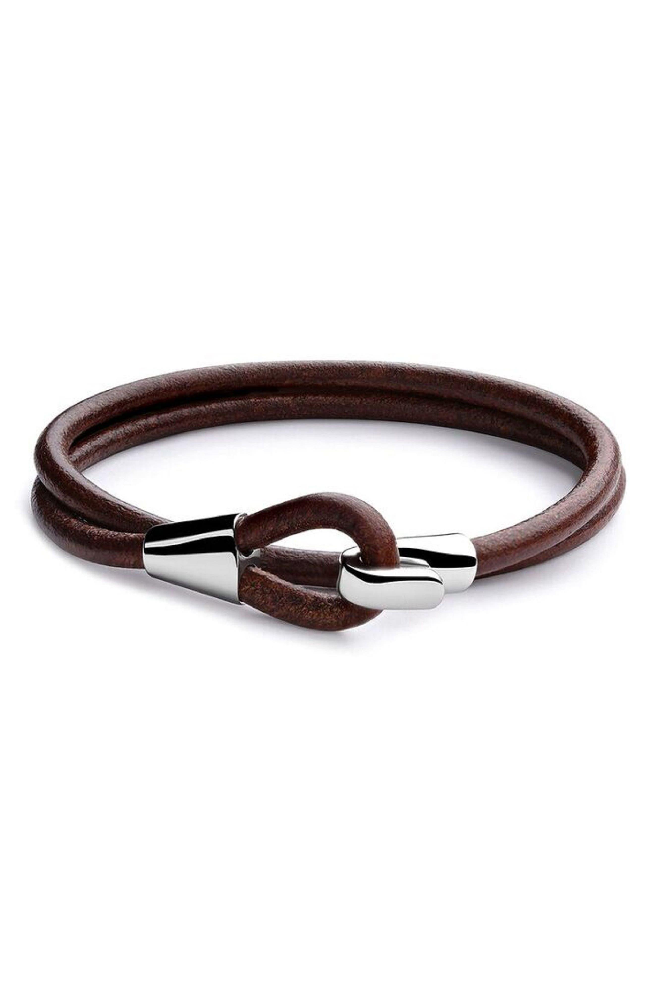 Mason Leather Bracelet,                         Main,                         color, Brown