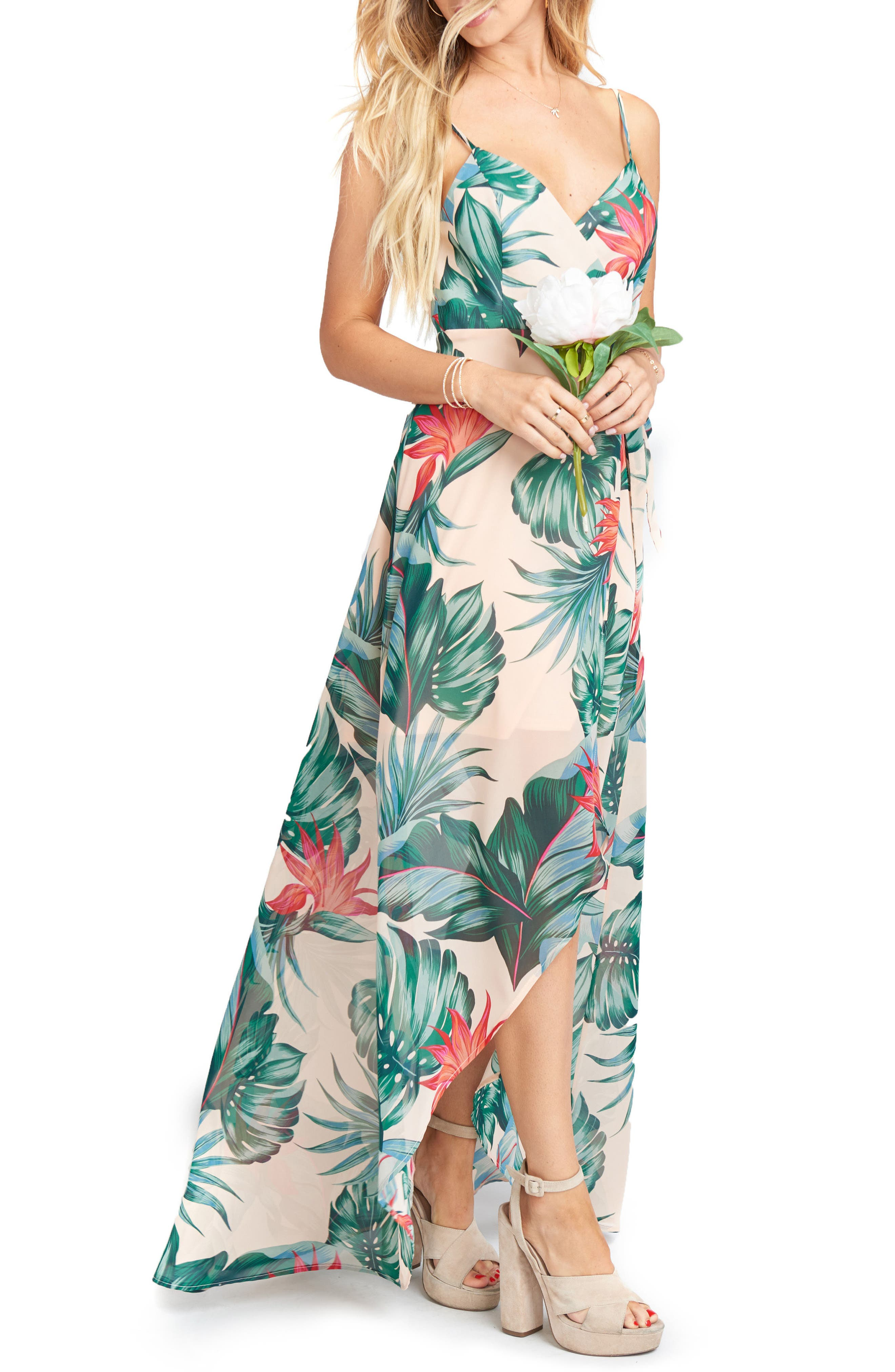Mariah Wrap Maxi Dress,                             Alternate thumbnail 3, color,                             Kauai Kisses