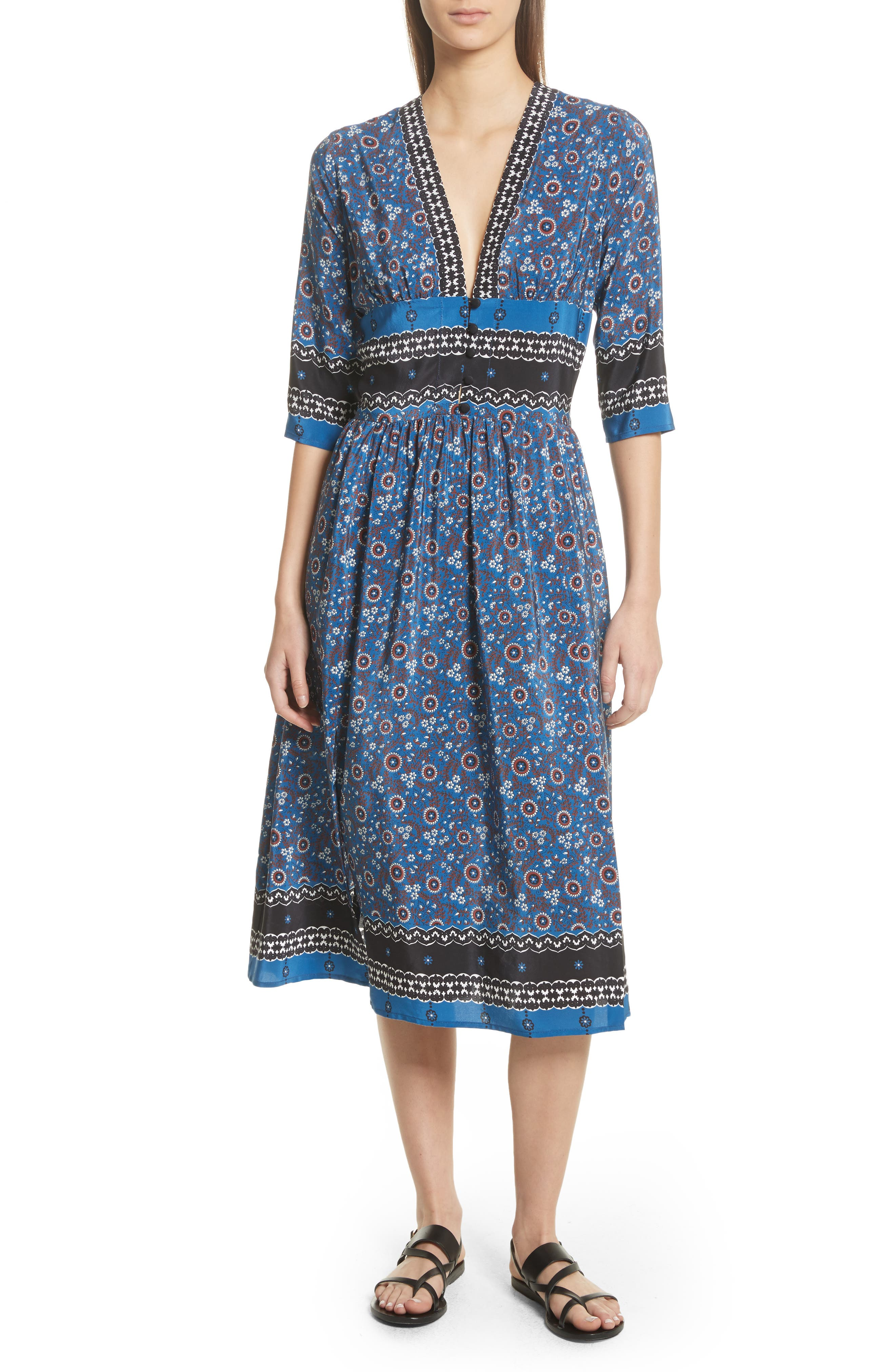 Tallulah Empire Waist Silk Midi Dress,                             Main thumbnail 1, color,                             Blue Multi