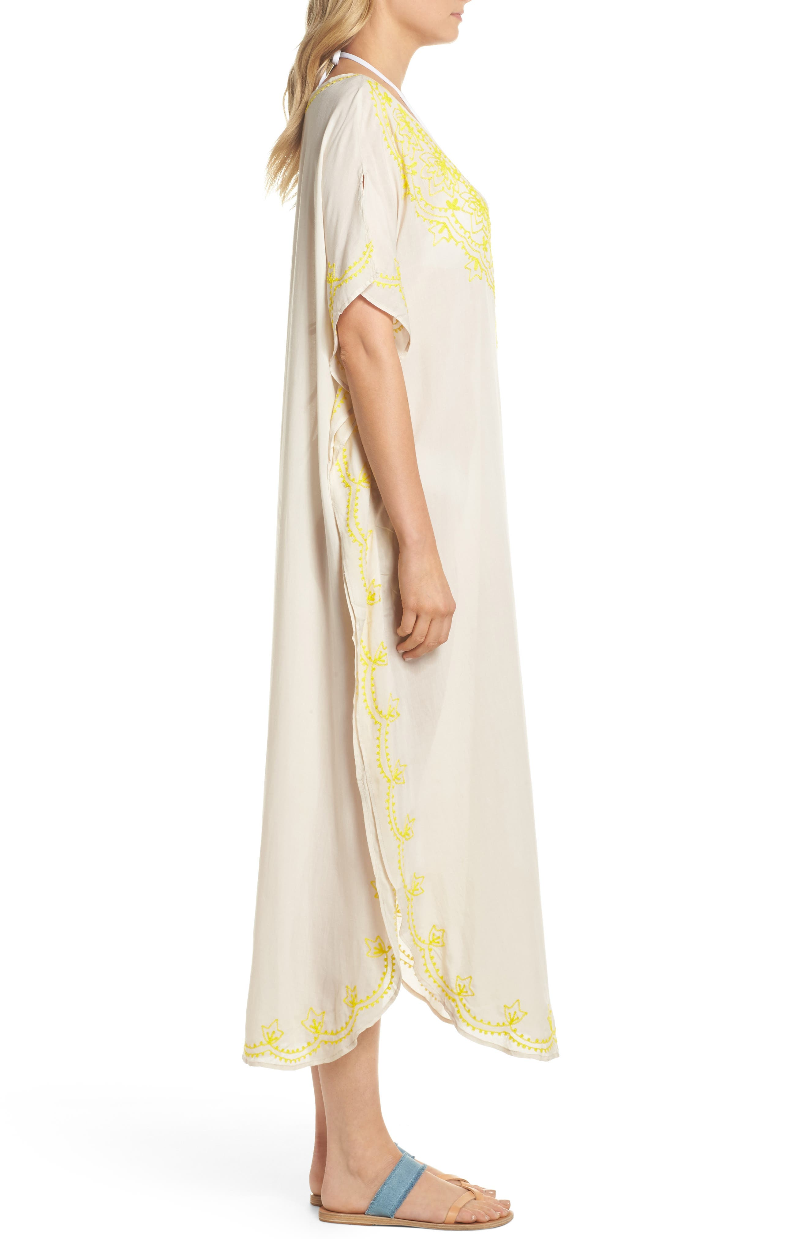 Embroidered Cover-Up Caftan,                             Alternate thumbnail 2, color,                             Stone