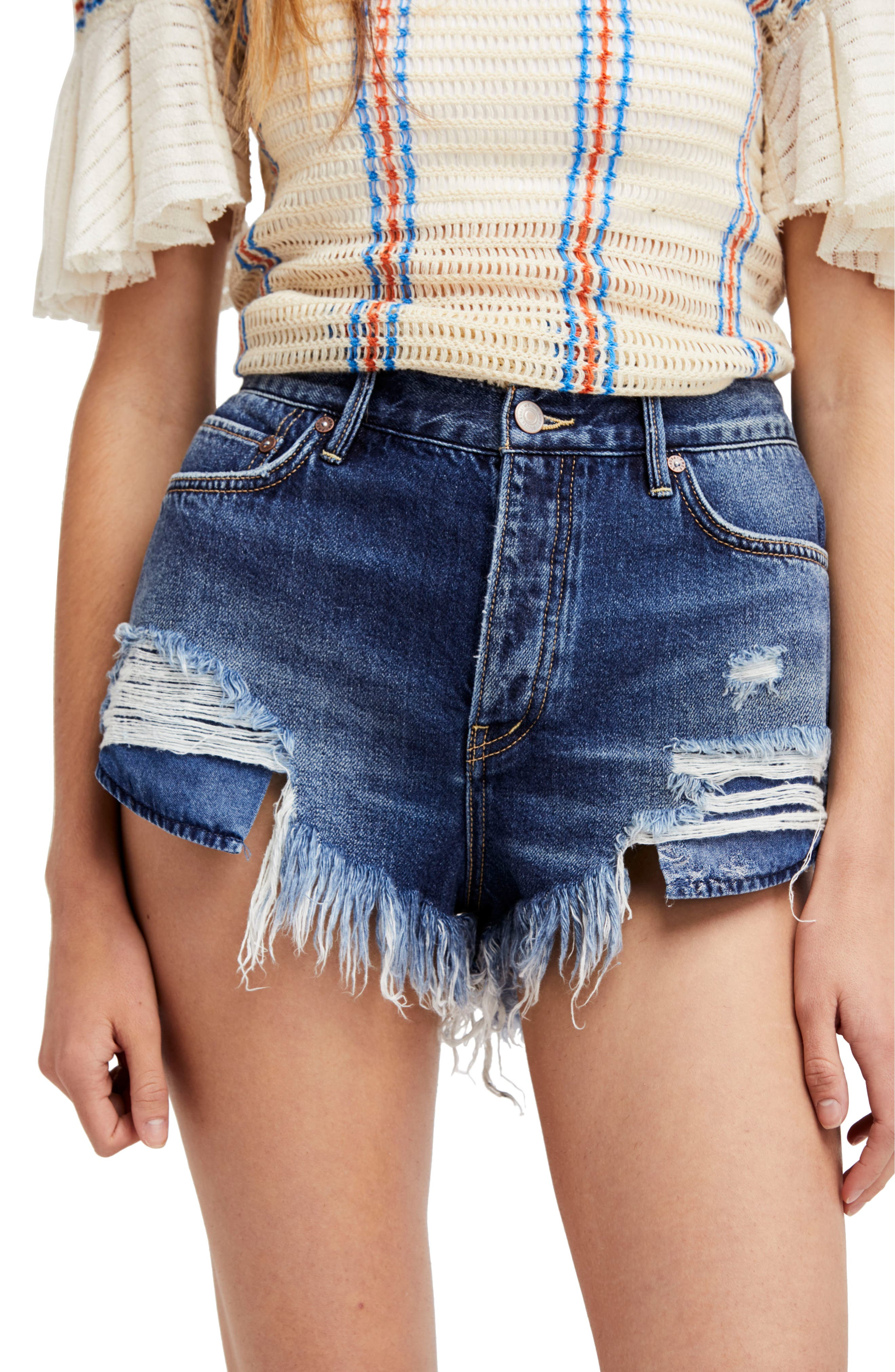 We the Free by Free People Loving Good Vibrations Shorts,                             Main thumbnail 1, color,                             Blue Combo