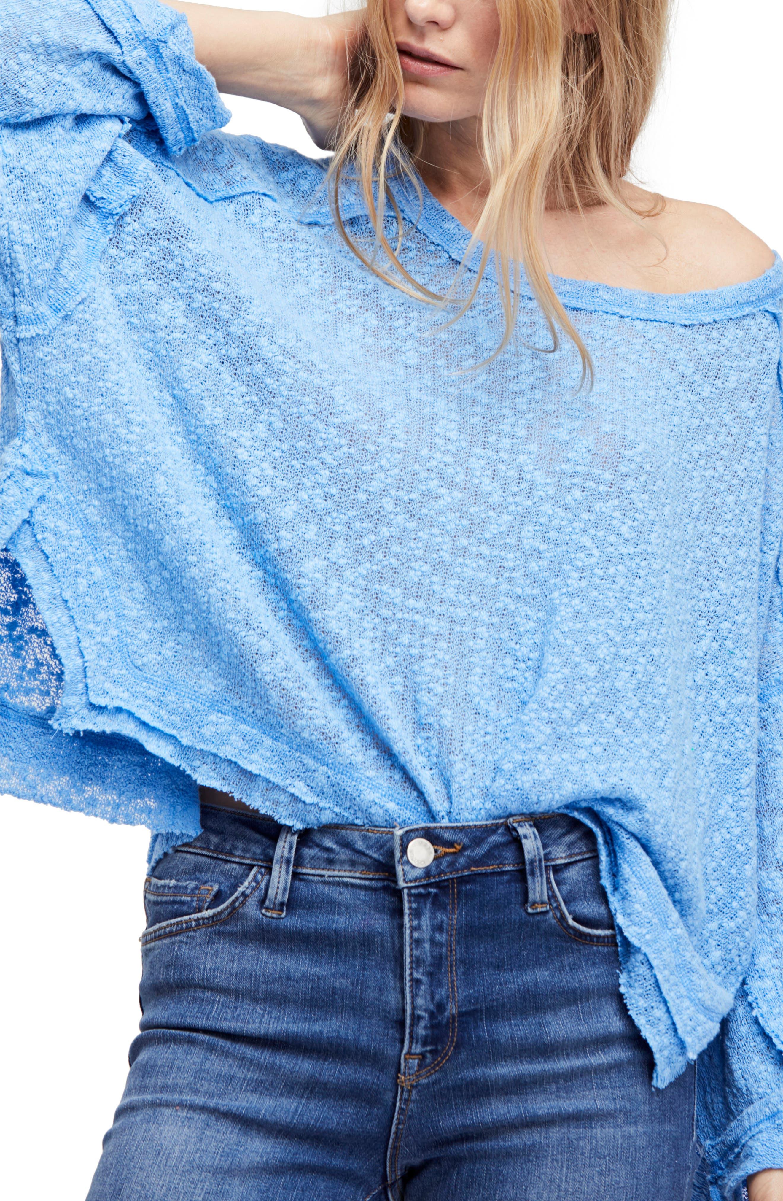 Island Girl Hacci Tee,                             Main thumbnail 1, color,                             Ocean Blue