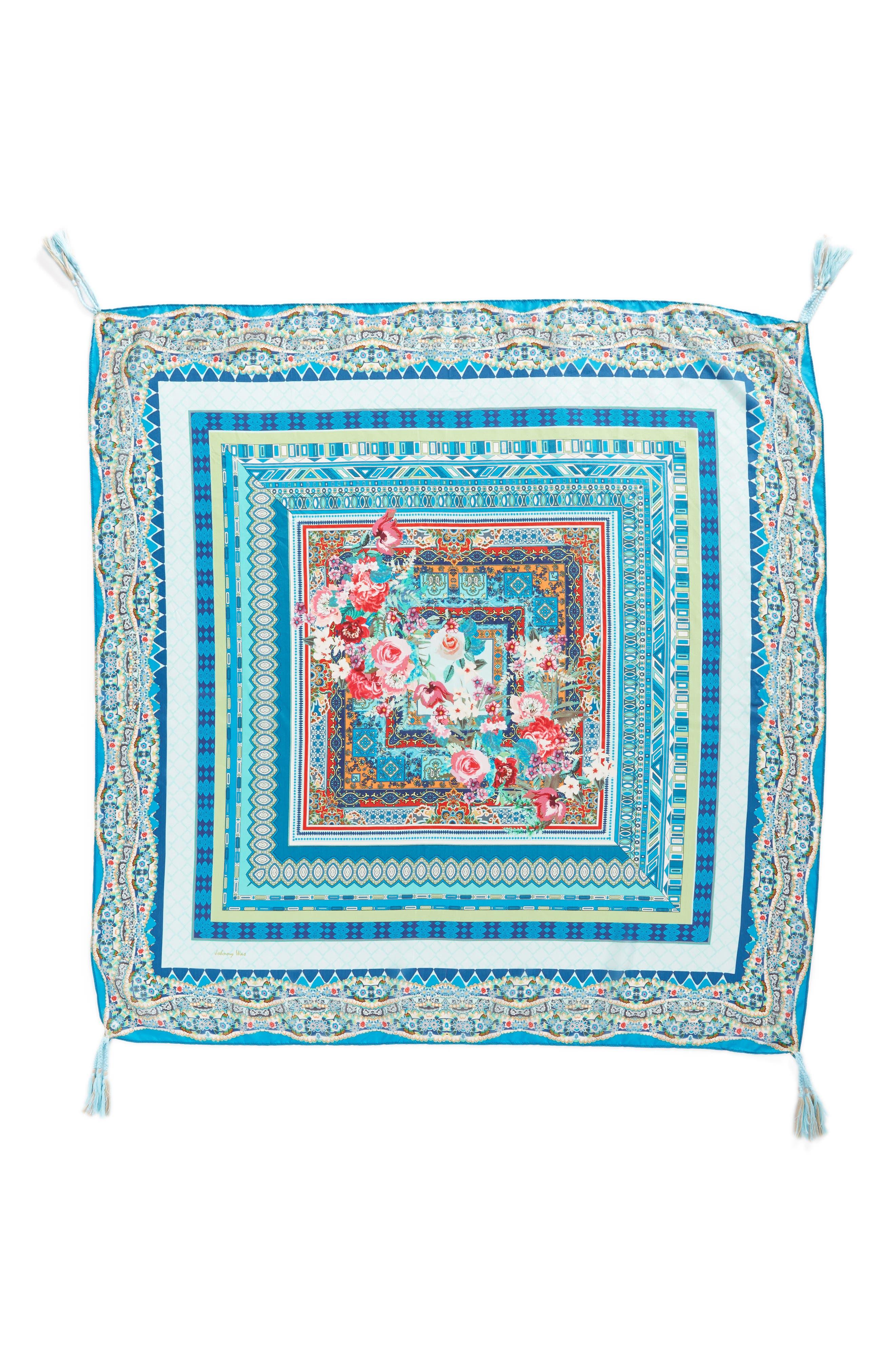 Boutique Tassel Silk Square Scarf,                             Alternate thumbnail 3, color,                             Multi