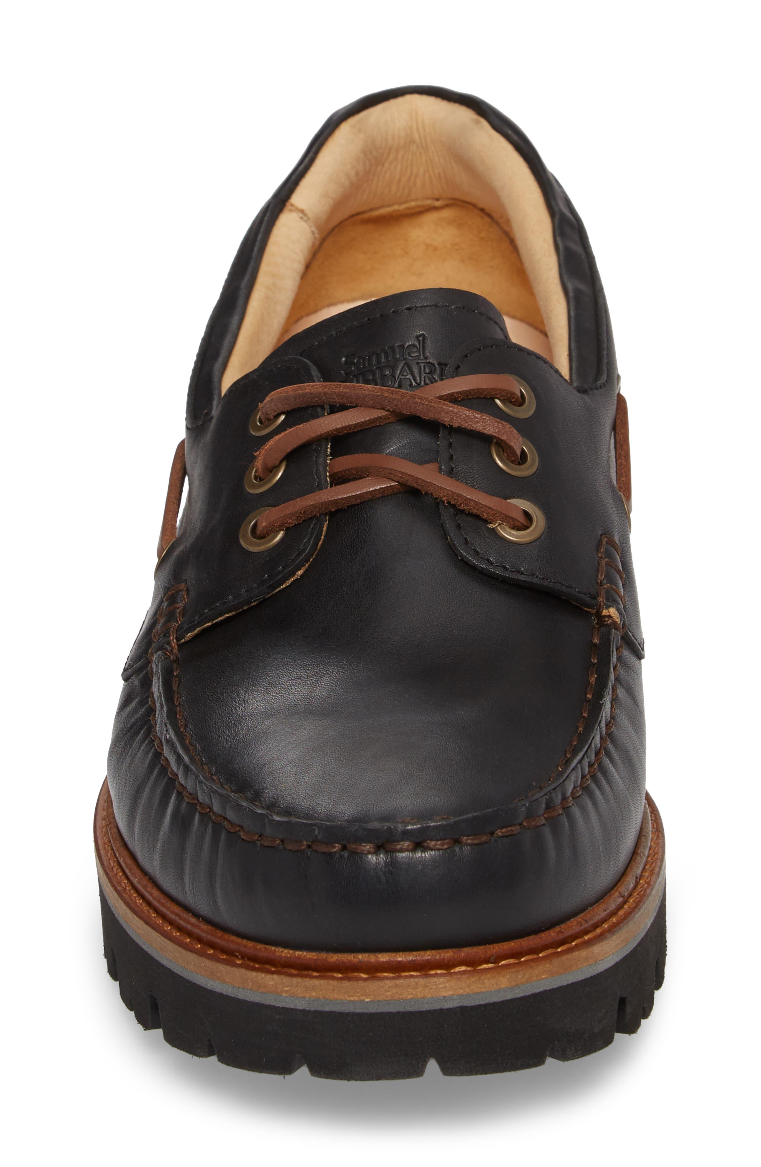Camplight Water Resistant Boat Shoe,                             Alternate thumbnail 4, color,                             Saddlebag Black Leather