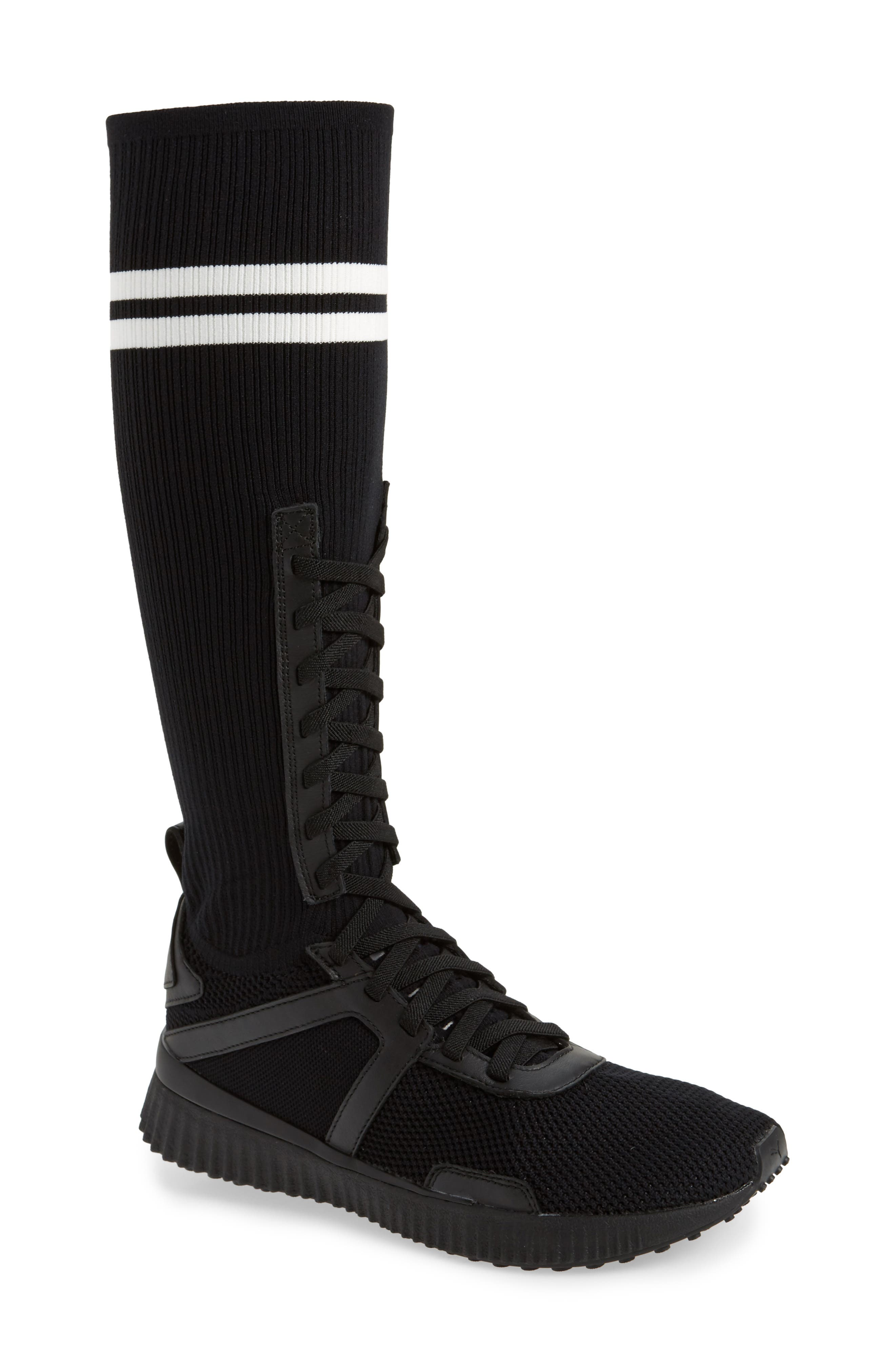 FENTY PUMA by Rihanna Sneaker Boot,                         Main,                         color, Black/ White