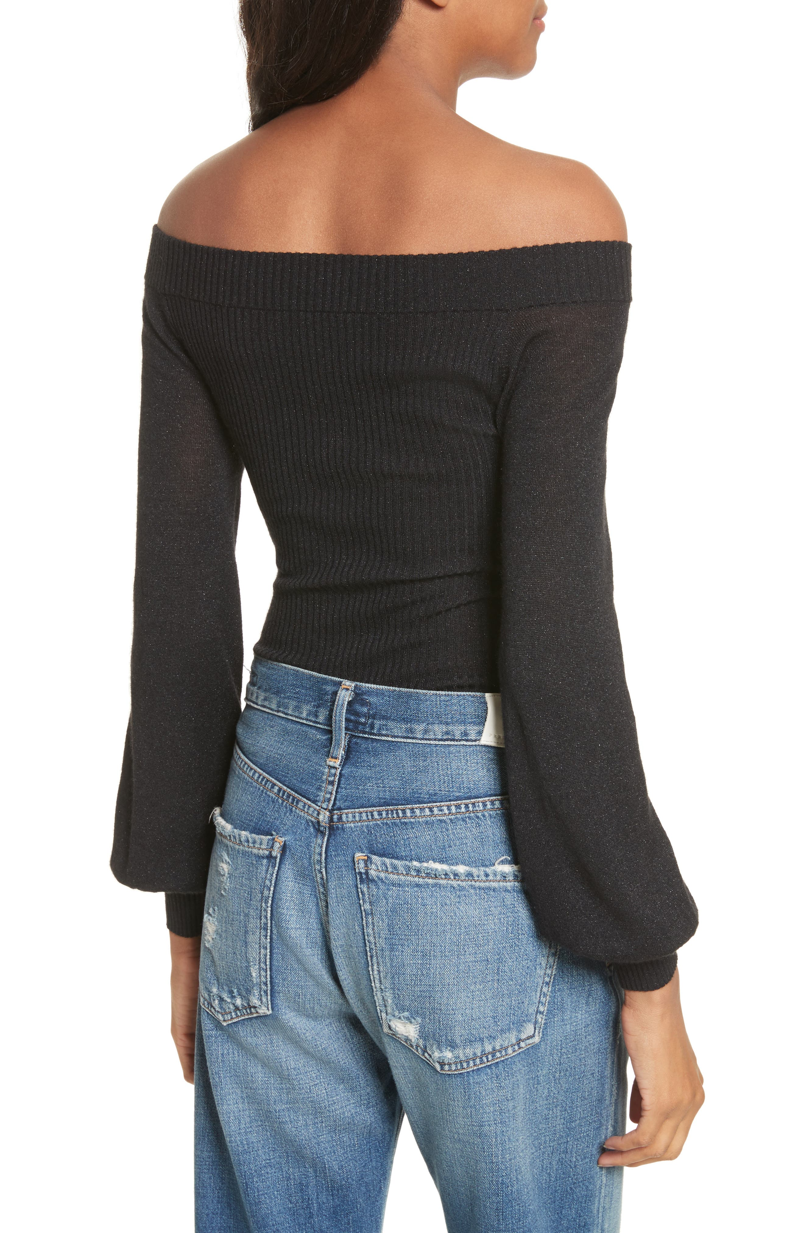 Alternate Image 2  - autumn cashmere Metallic Cashmere & Silk Blend Off the Shoulder Top