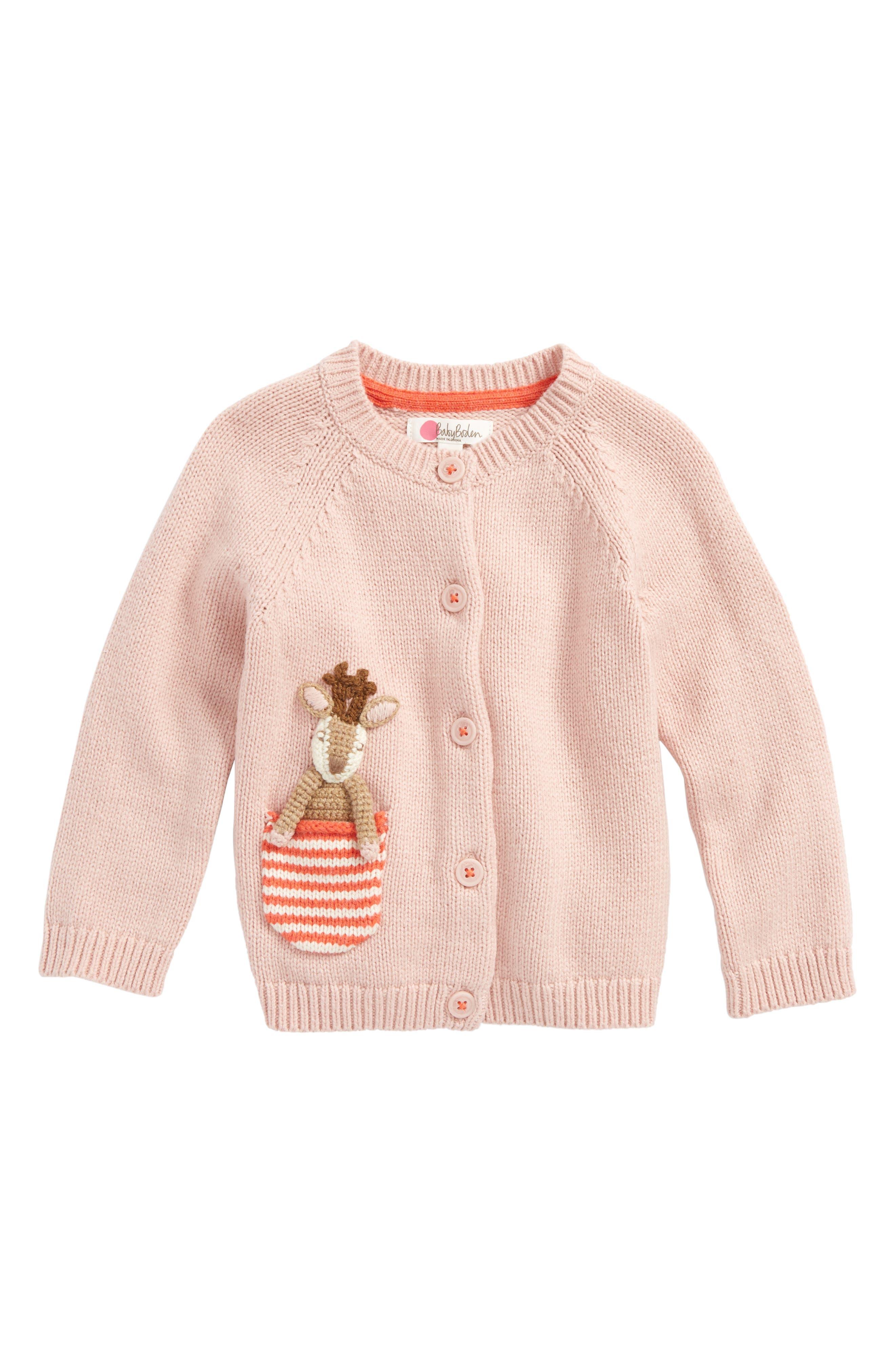 Main Image - Mini Boden Pet-in-a-Pocket Cardigan (Baby Girls & Toddler Girls)