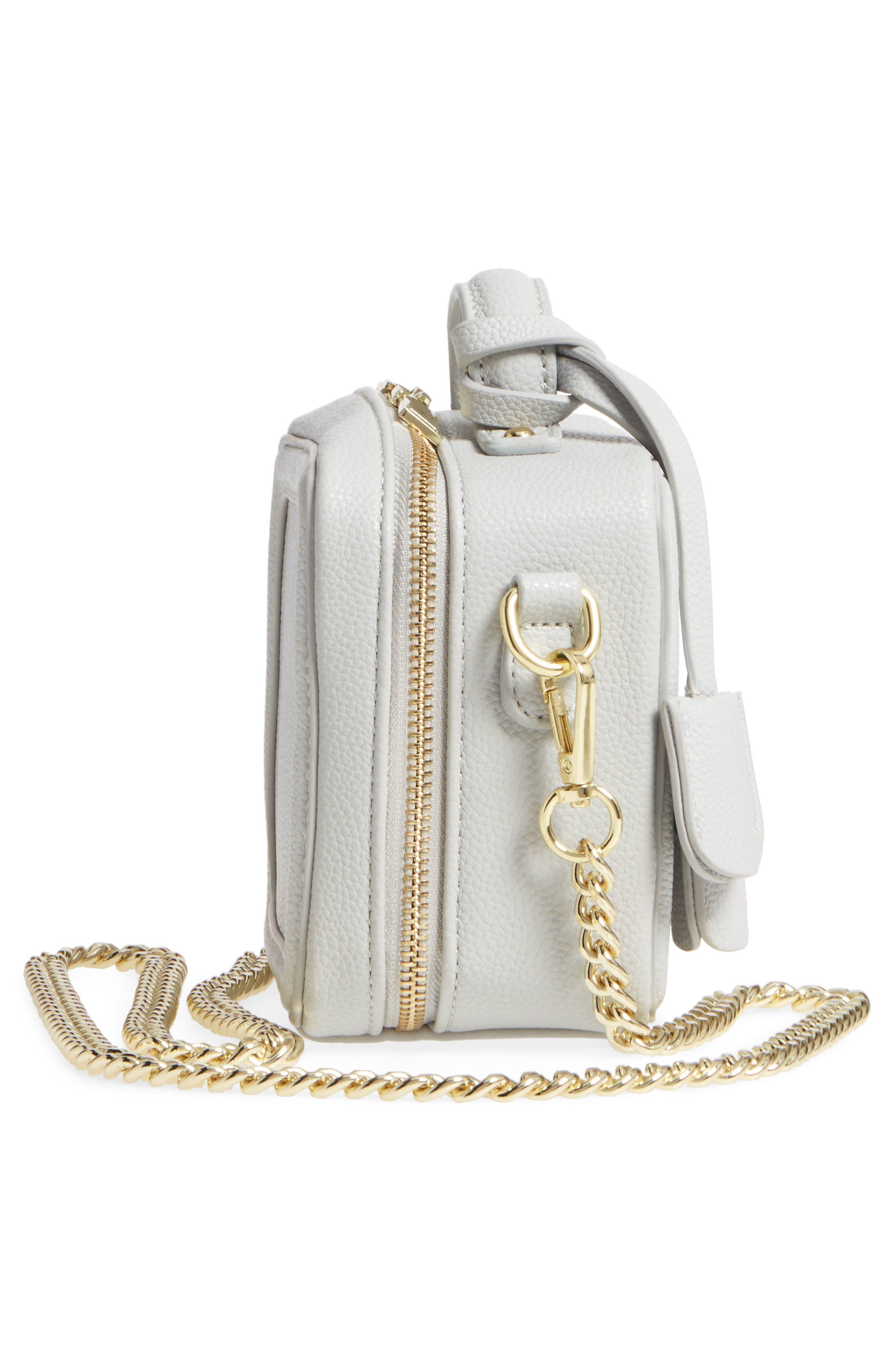 Taylor Faux Leather Crossbody Bag,                             Alternate thumbnail 5, color,                             Light Grey