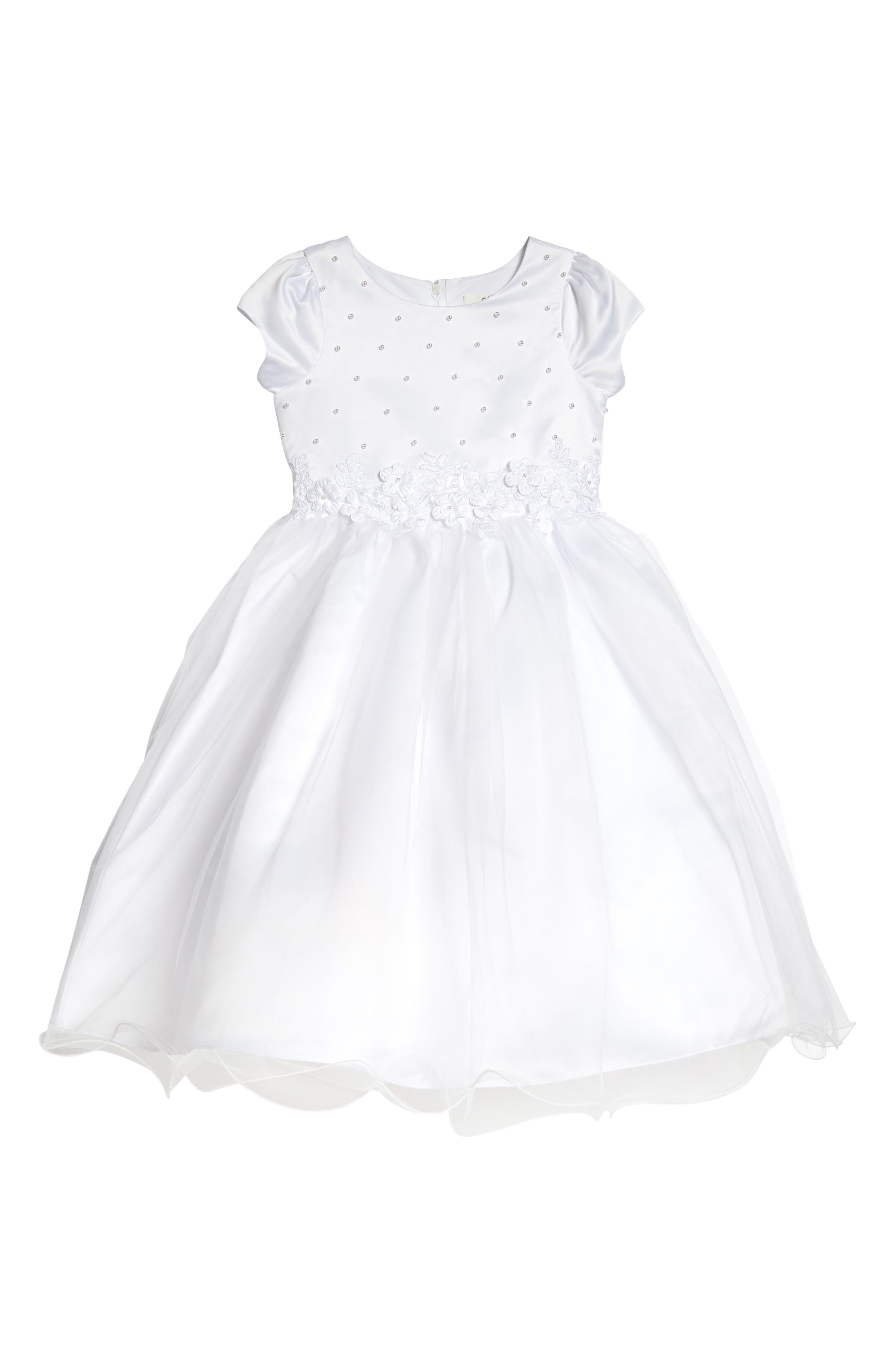 Alternate Image 1 Selected - Us Angels Embellished Satin & Organza Dress (Little Girls & Big Girls)