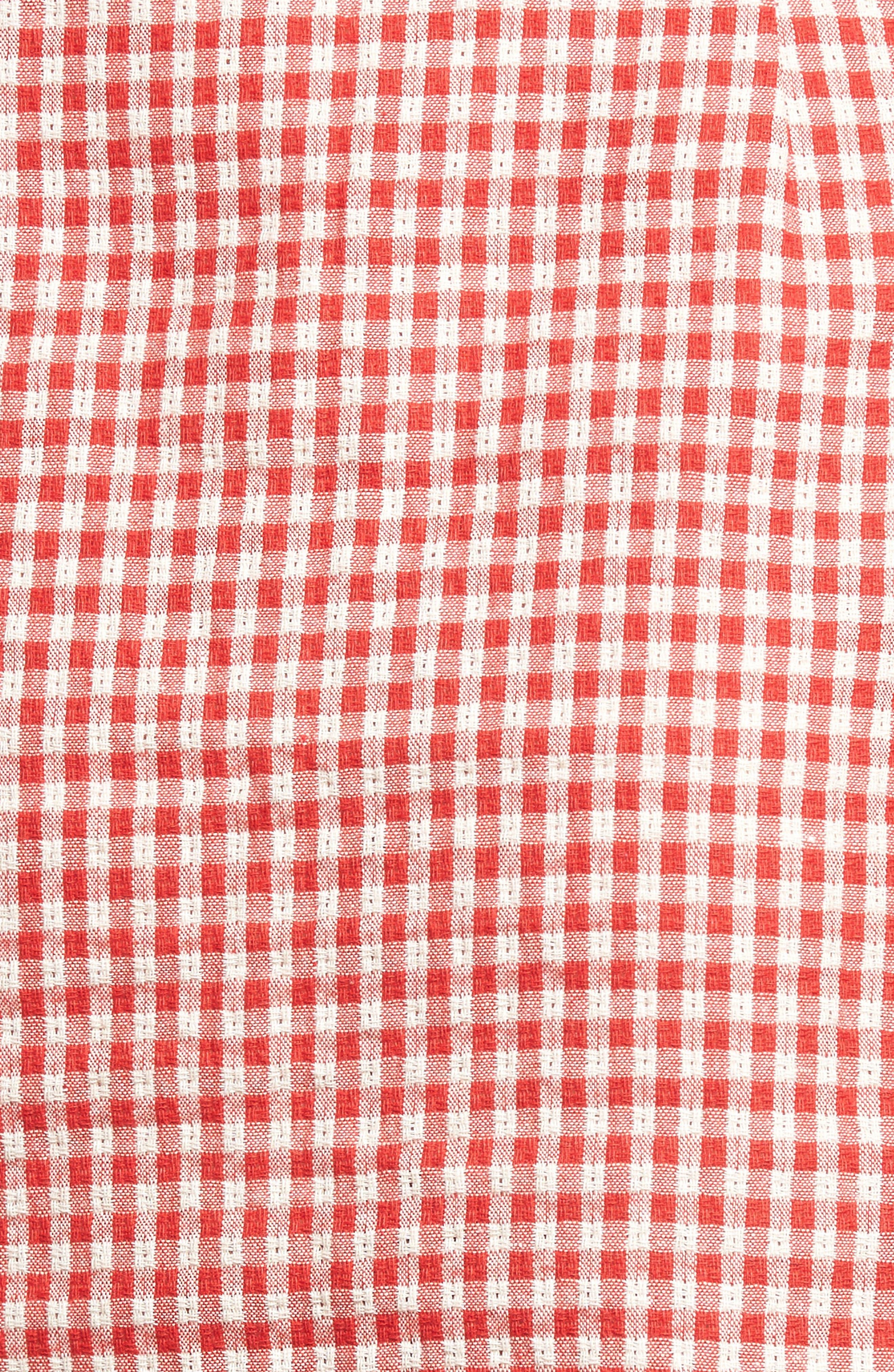 Gingham Ruffle Sleeve Dress,                             Alternate thumbnail 6, color,                             Red Gingham