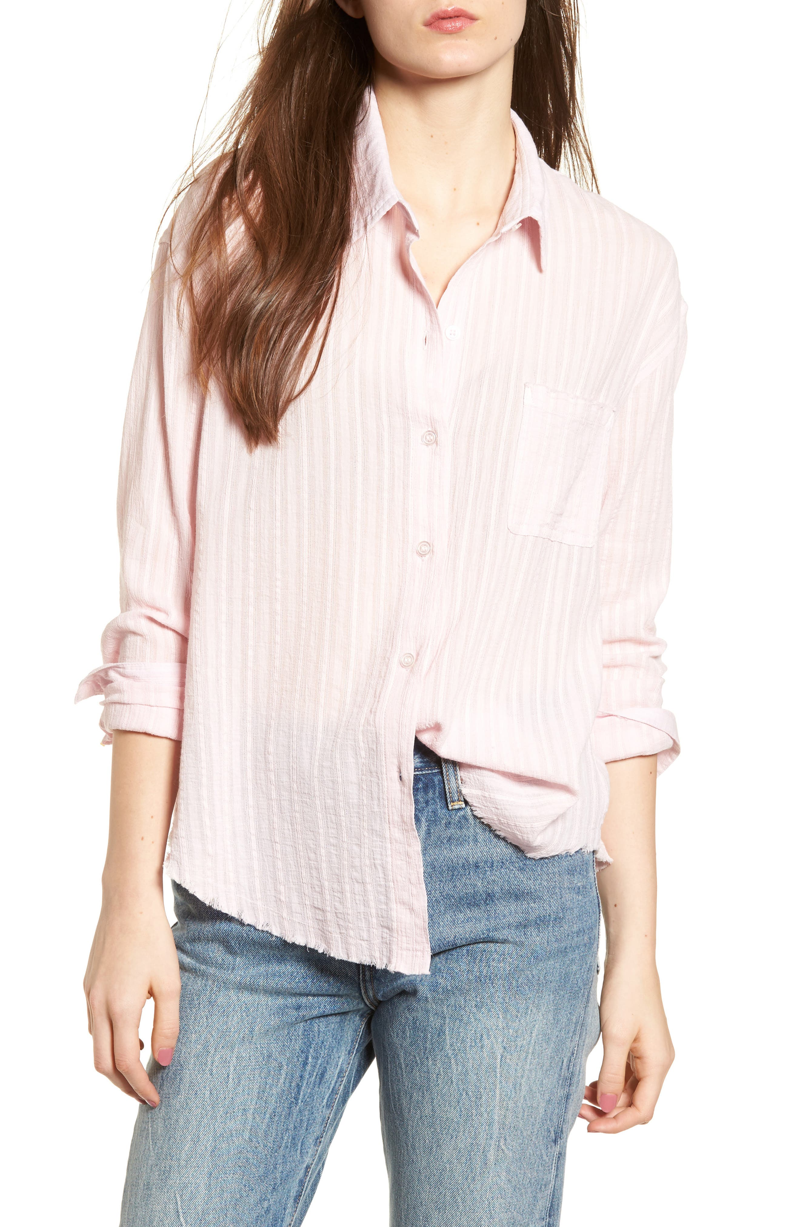 Raw Hem Shirt,                             Main thumbnail 1, color,                             Light Pink