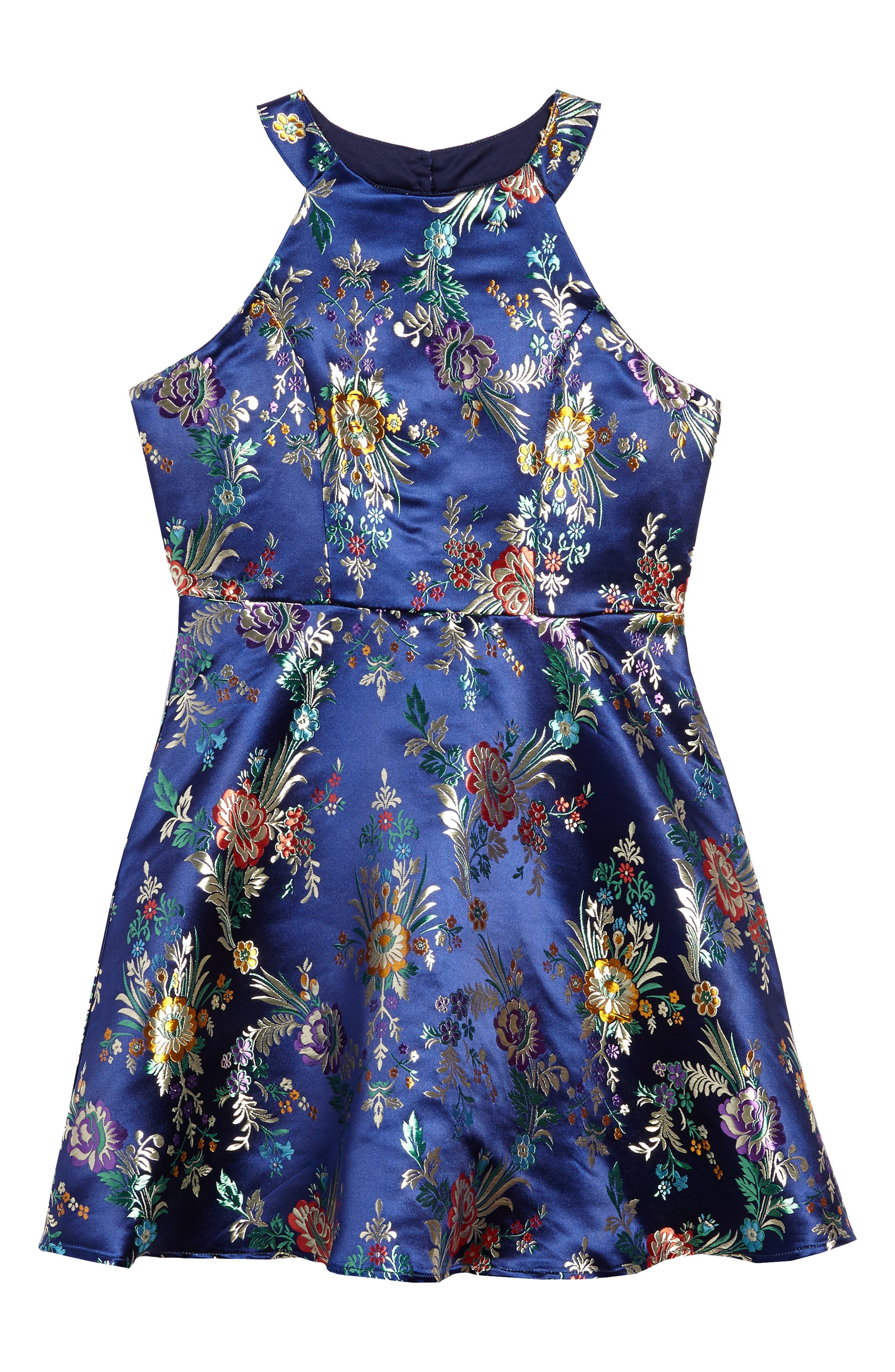 Metallic Floral Jacquard Dress,                         Main,                         color, Navy