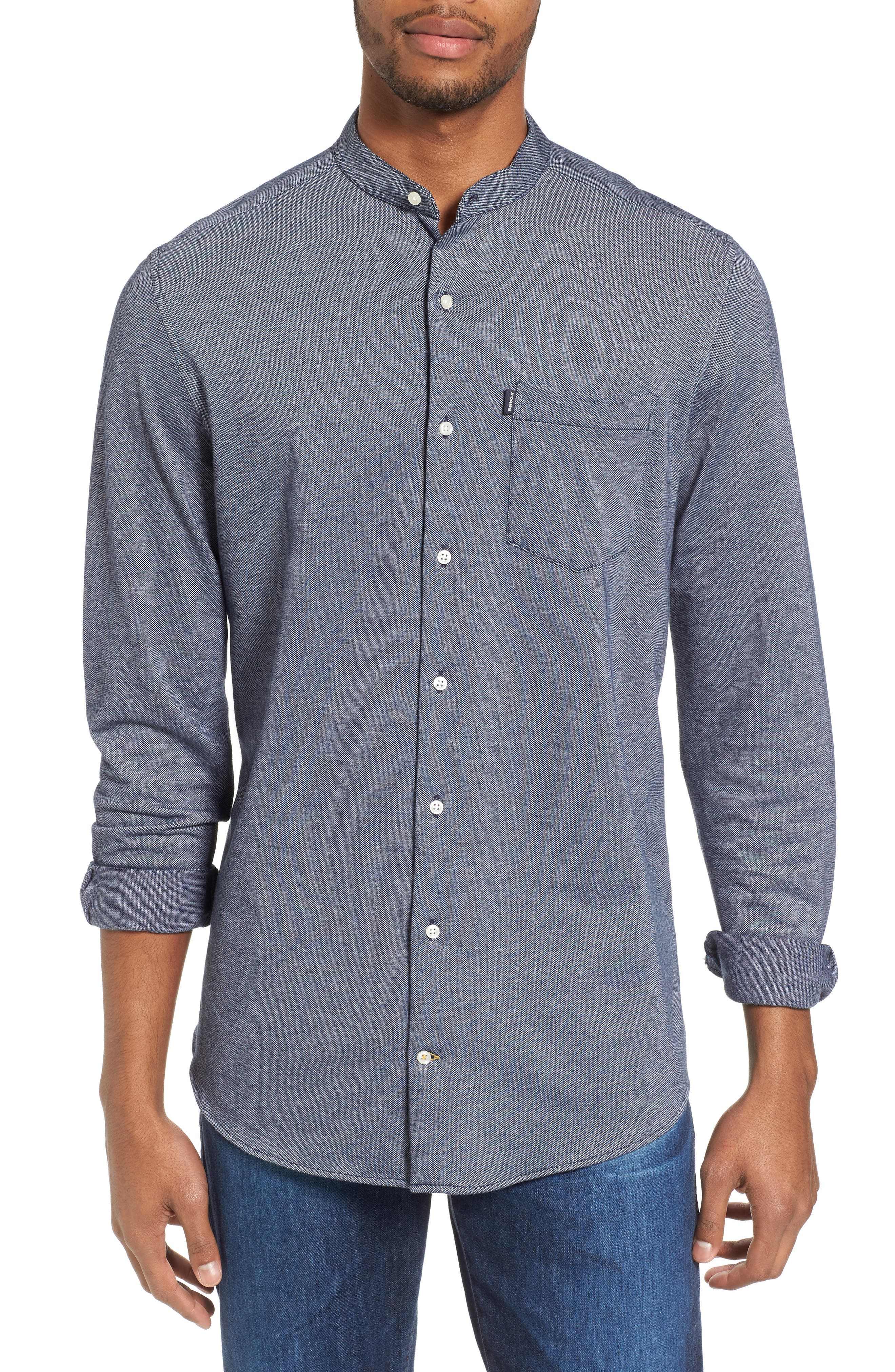 Scafell Regular Fit Solid Sport Shirt,                             Main thumbnail 1, color,                             Navy