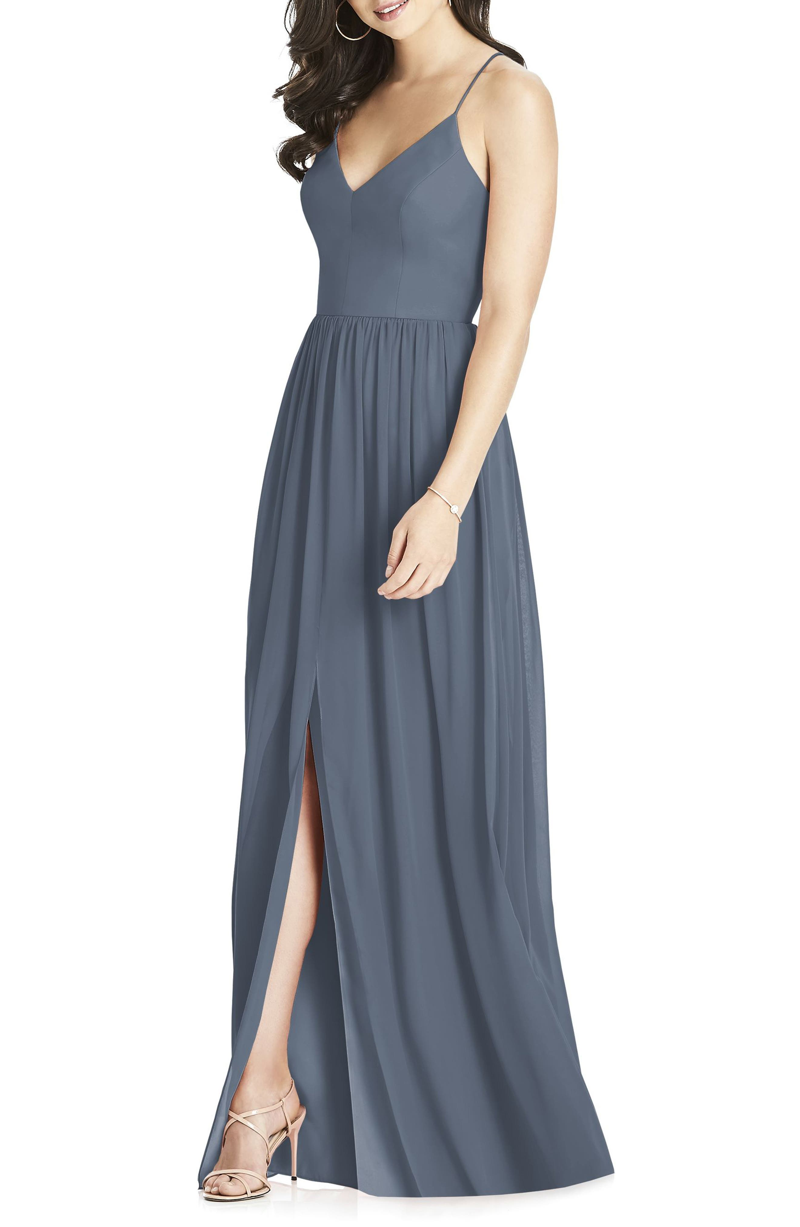 Alternate Image 1 Selected - Dessy Collection Spaghetti Strap Chiffon Gown