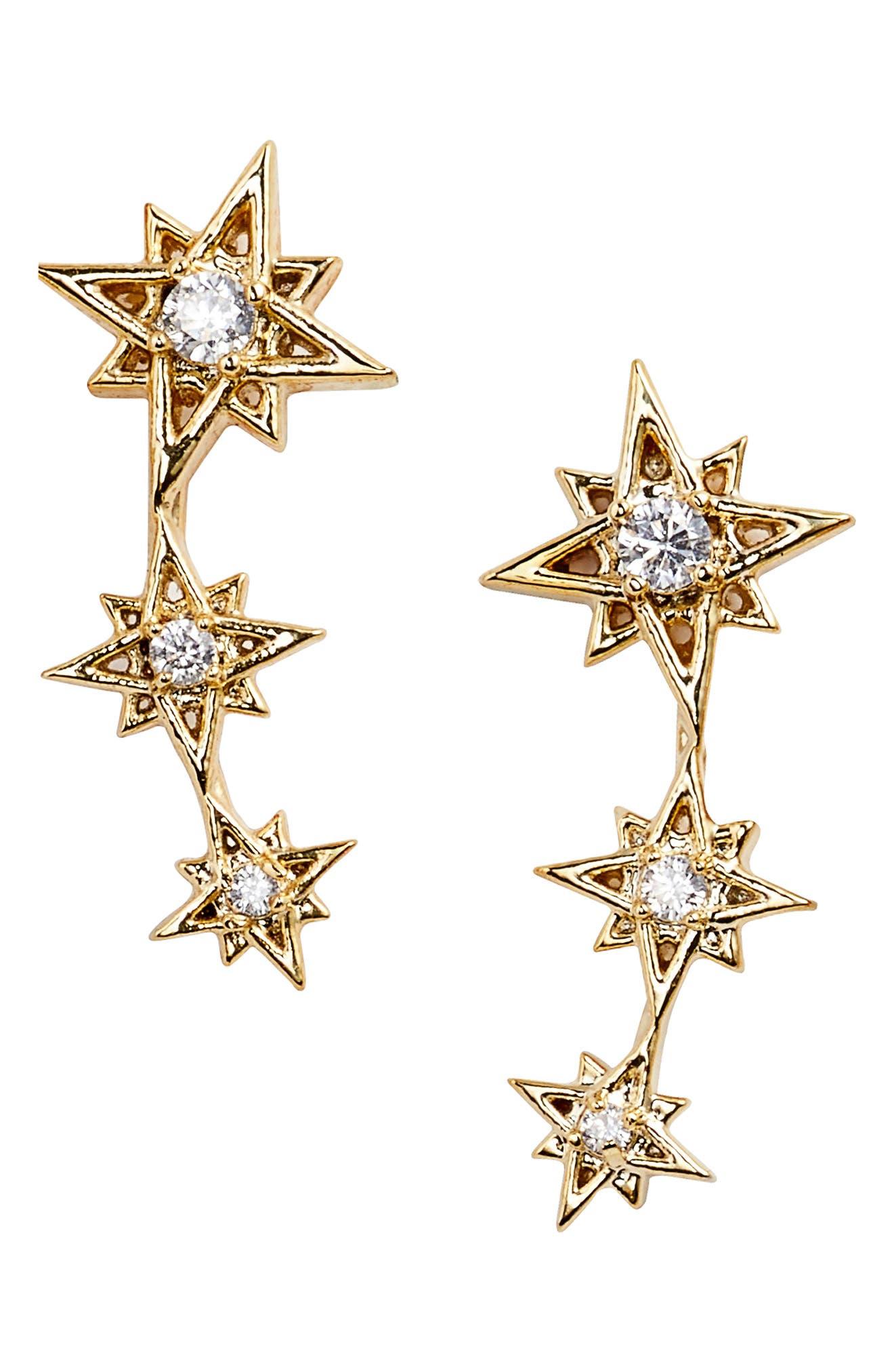 Star Earrings,                             Alternate thumbnail 3, color,                             Gold
